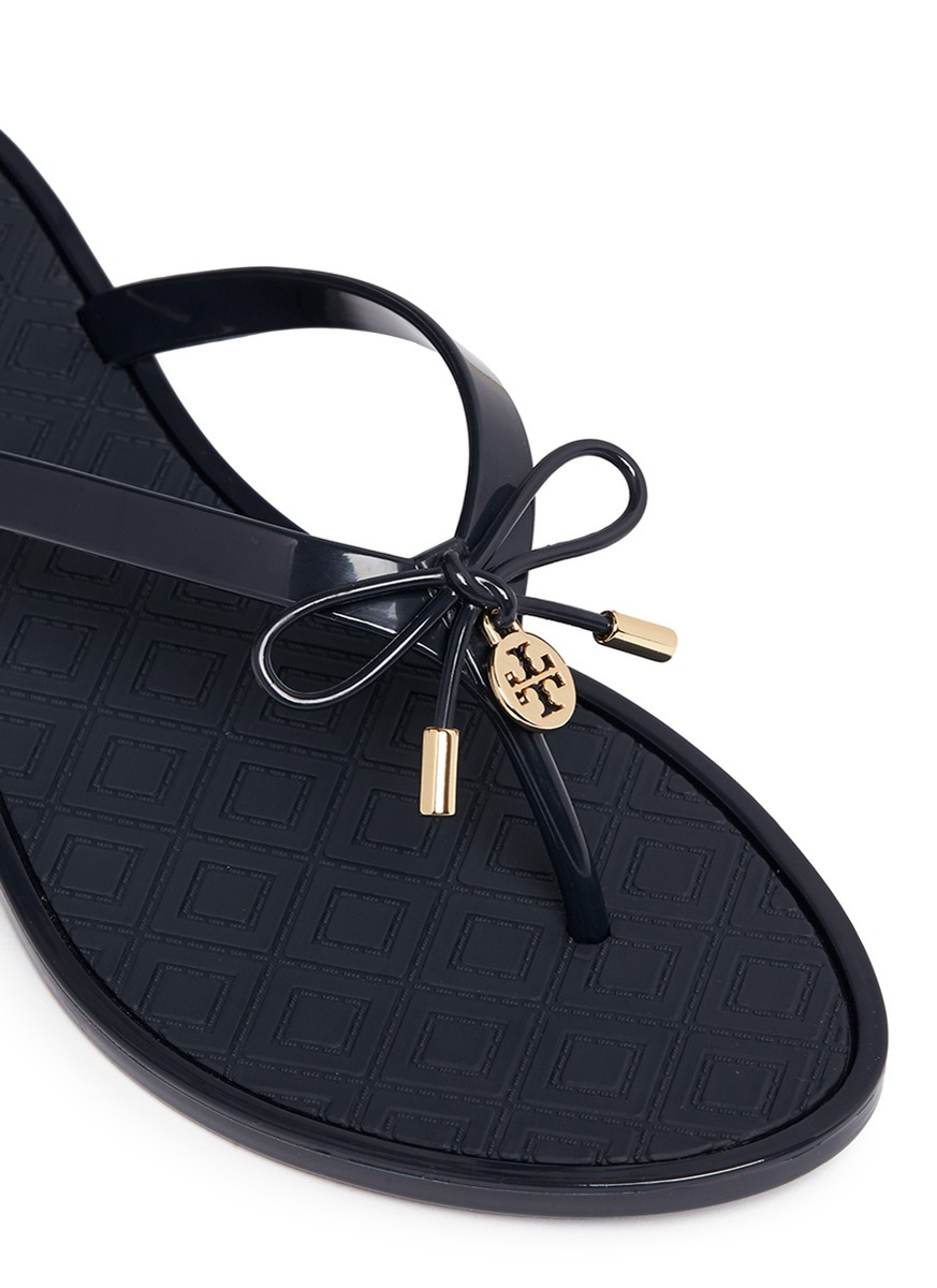 f3c85fa76f0f Tory Burch  jelly Bow Thong  Embossed Flip Flops in Blue - Lyst