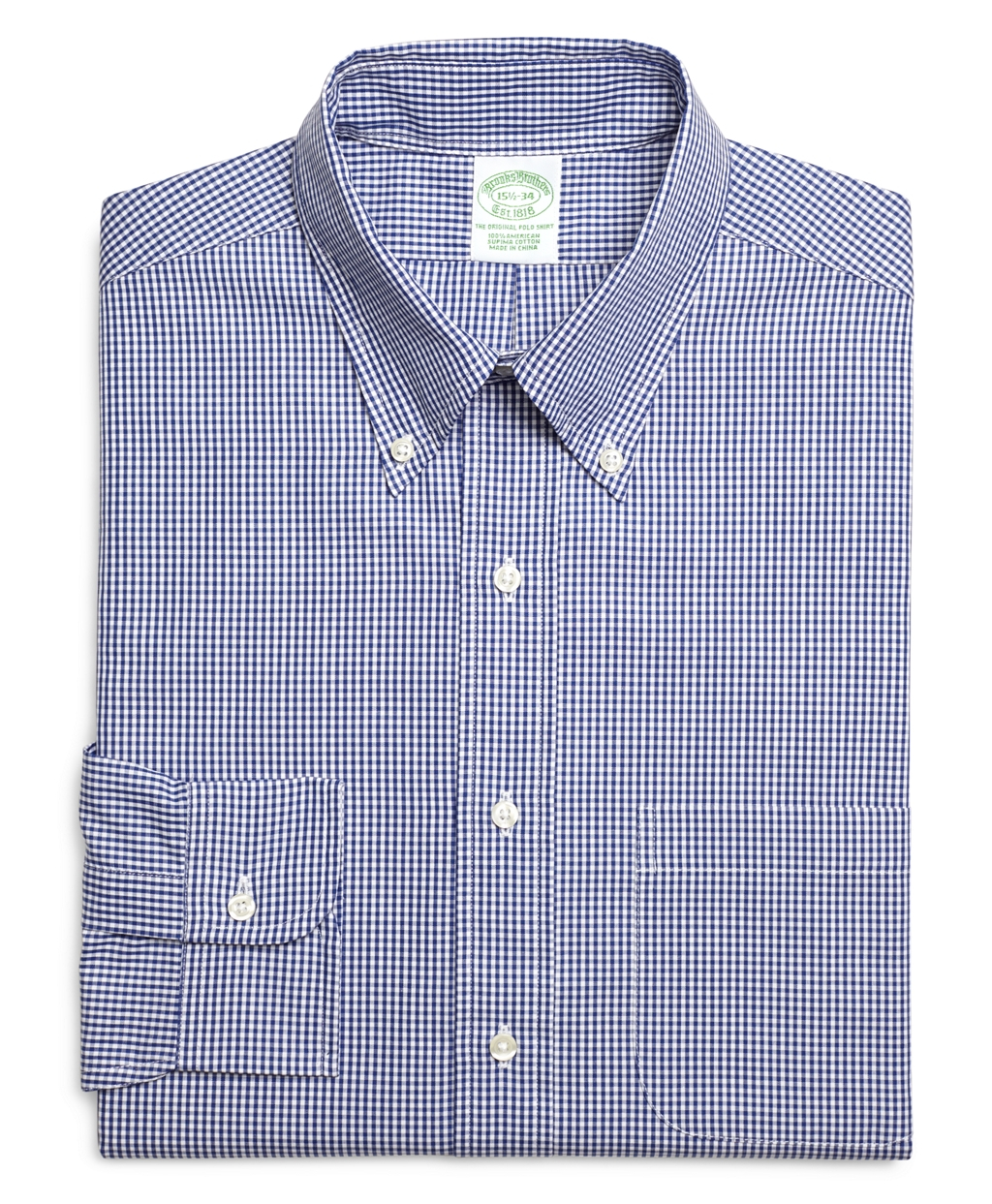 brooks brothers extra slim fit micro gingham dress shirt in blue for men lyst. Black Bedroom Furniture Sets. Home Design Ideas