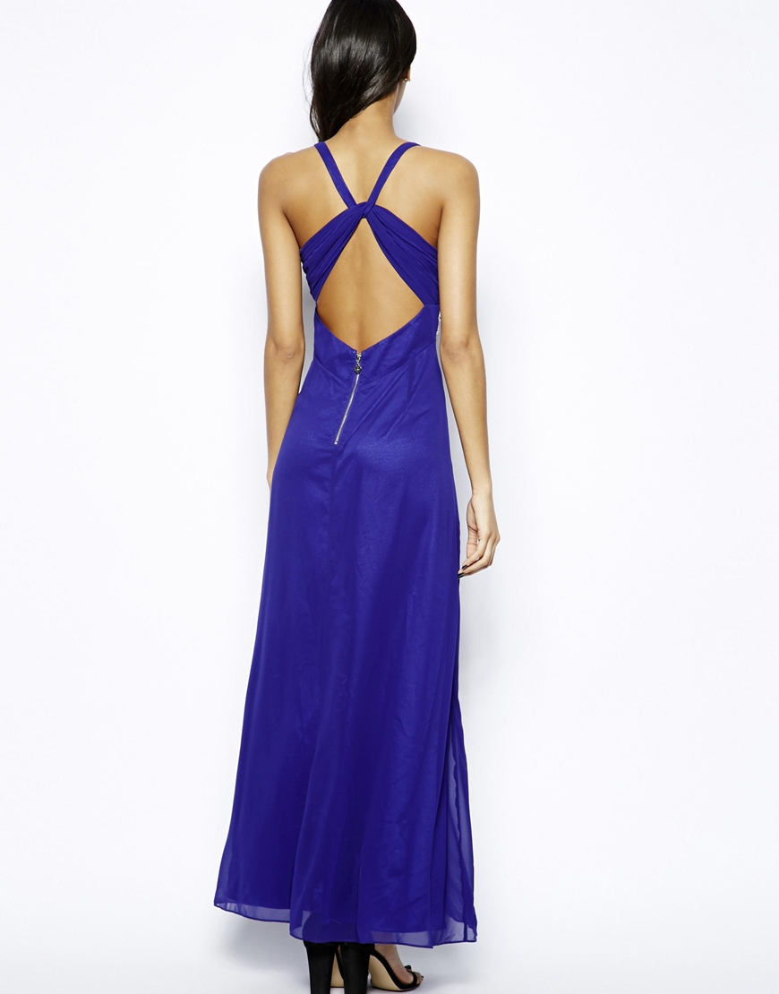 Lyst - Lipsy Maxi Dress with Bead Detail and Thigh Split in Blue