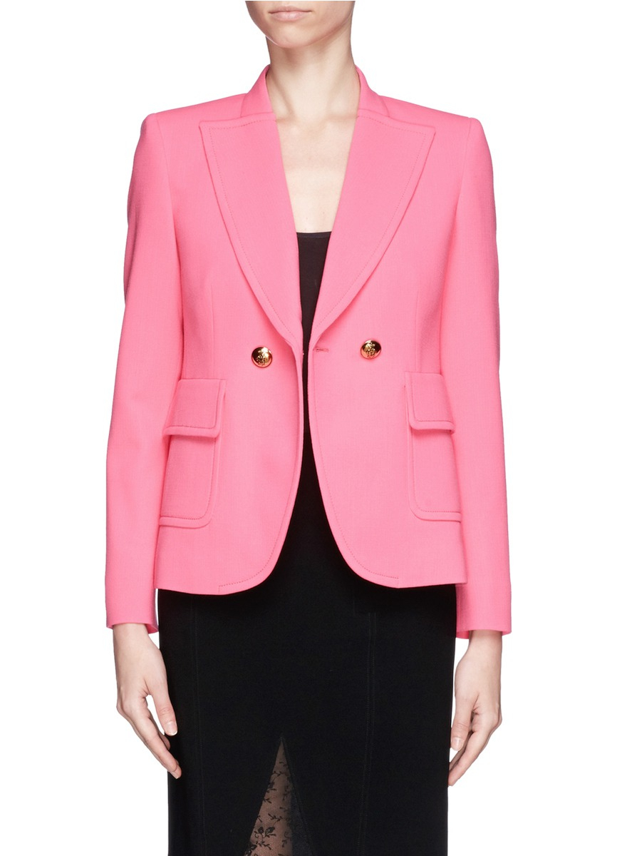Emilio pucci Wool-blend Tailored Jacket in Pink | Lyst