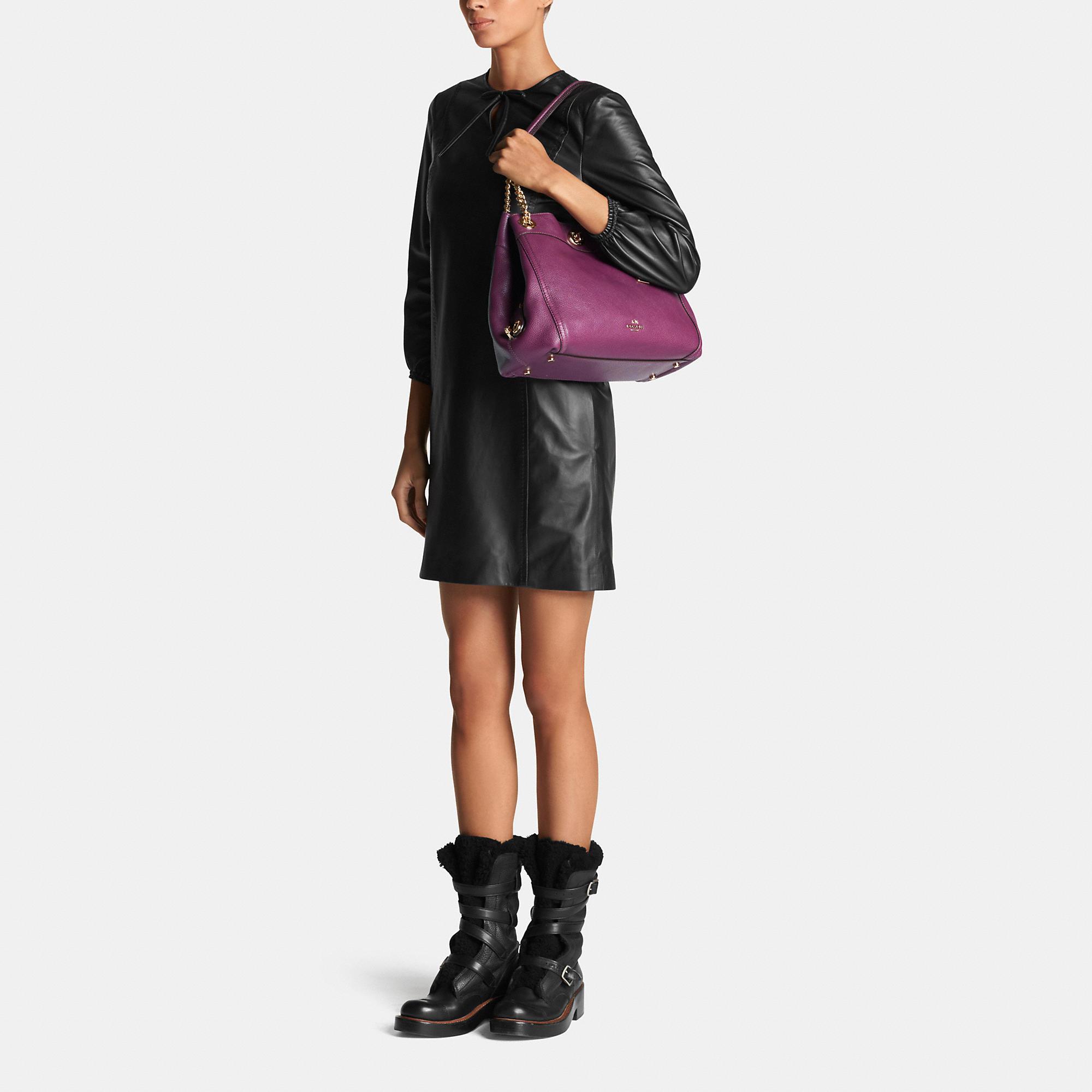 Coach Turnlock Edie Shoulder Bag In Pebble Leather In