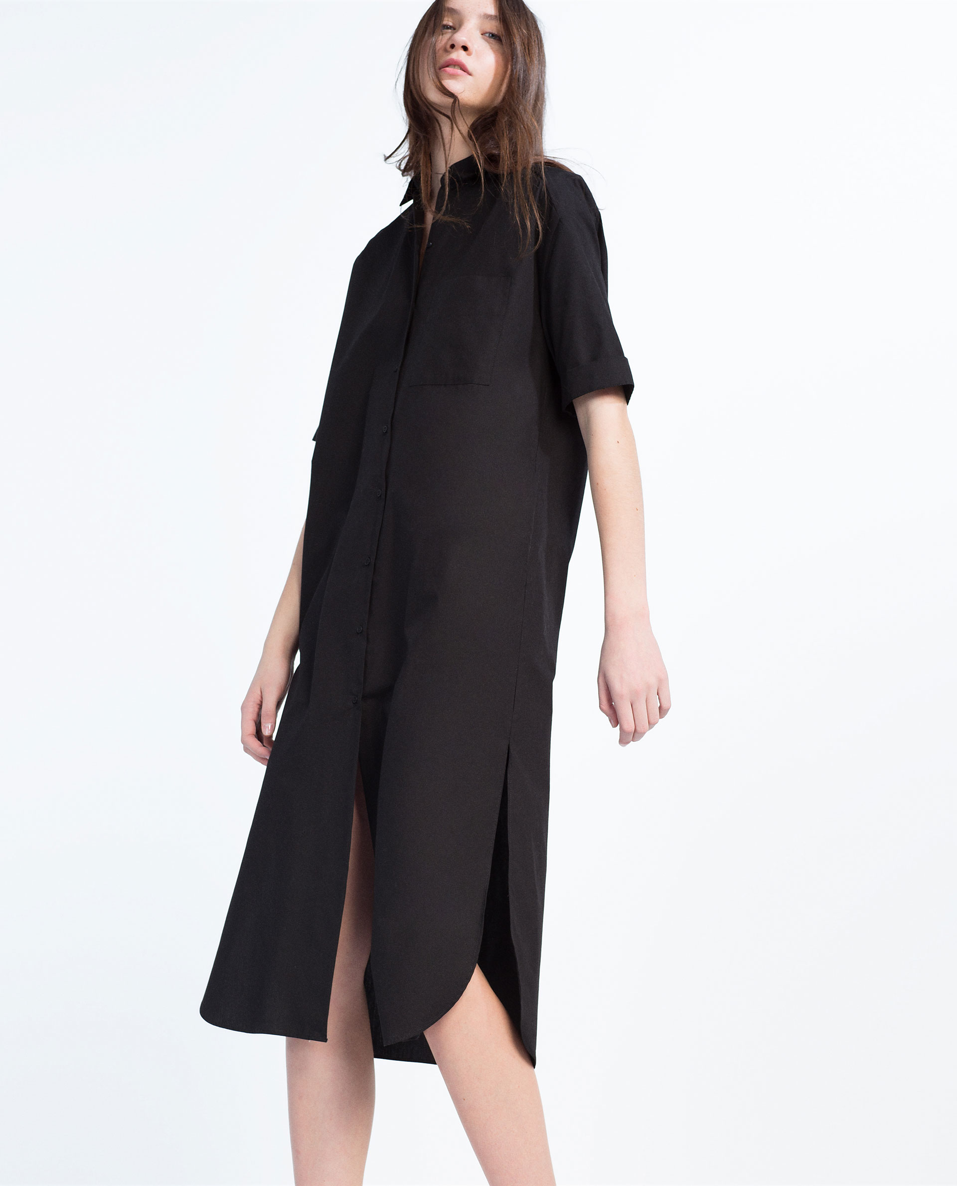 Perfect Black Dress  Shirt Dress  Long Sleeve Dress  Shift Dress  4500