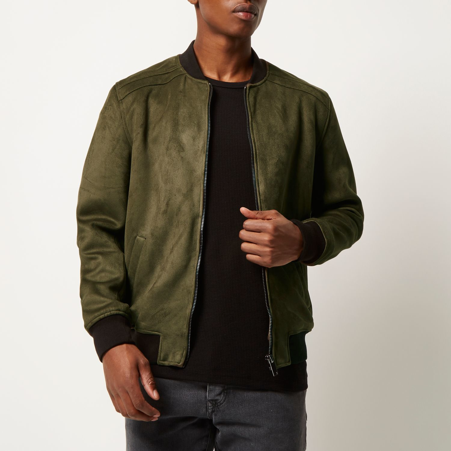 River island Khaki Faux Suede Bomber Jacket in Green for Men | Lyst