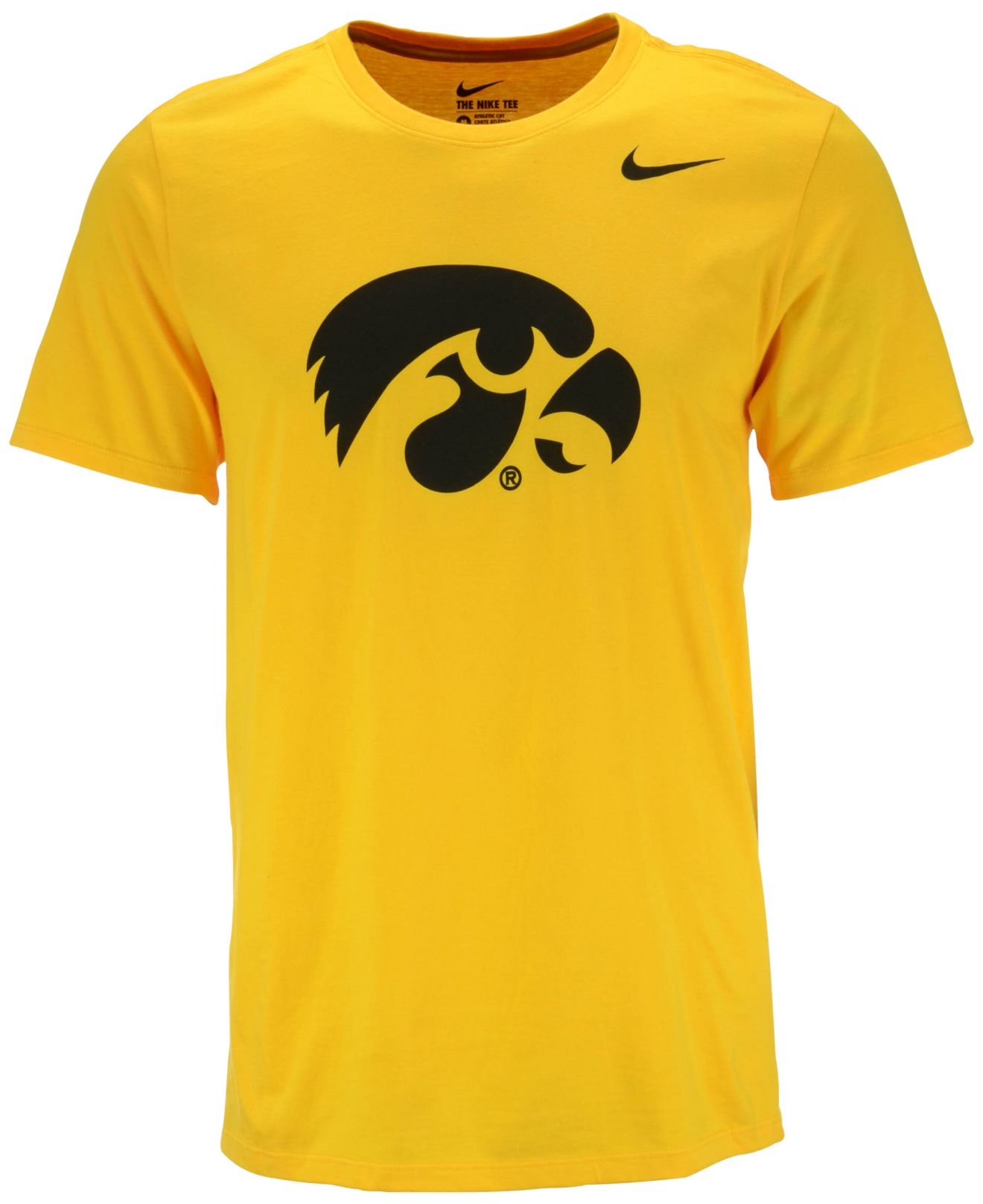 Nike men 39 s iowa hawkeyes logo t shirt in yellow for men lyst for Iowa hawkeye t shirt