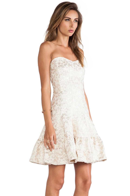 Lyst Anna Sui Metallic Daisy Jacquard Strapless Dress In