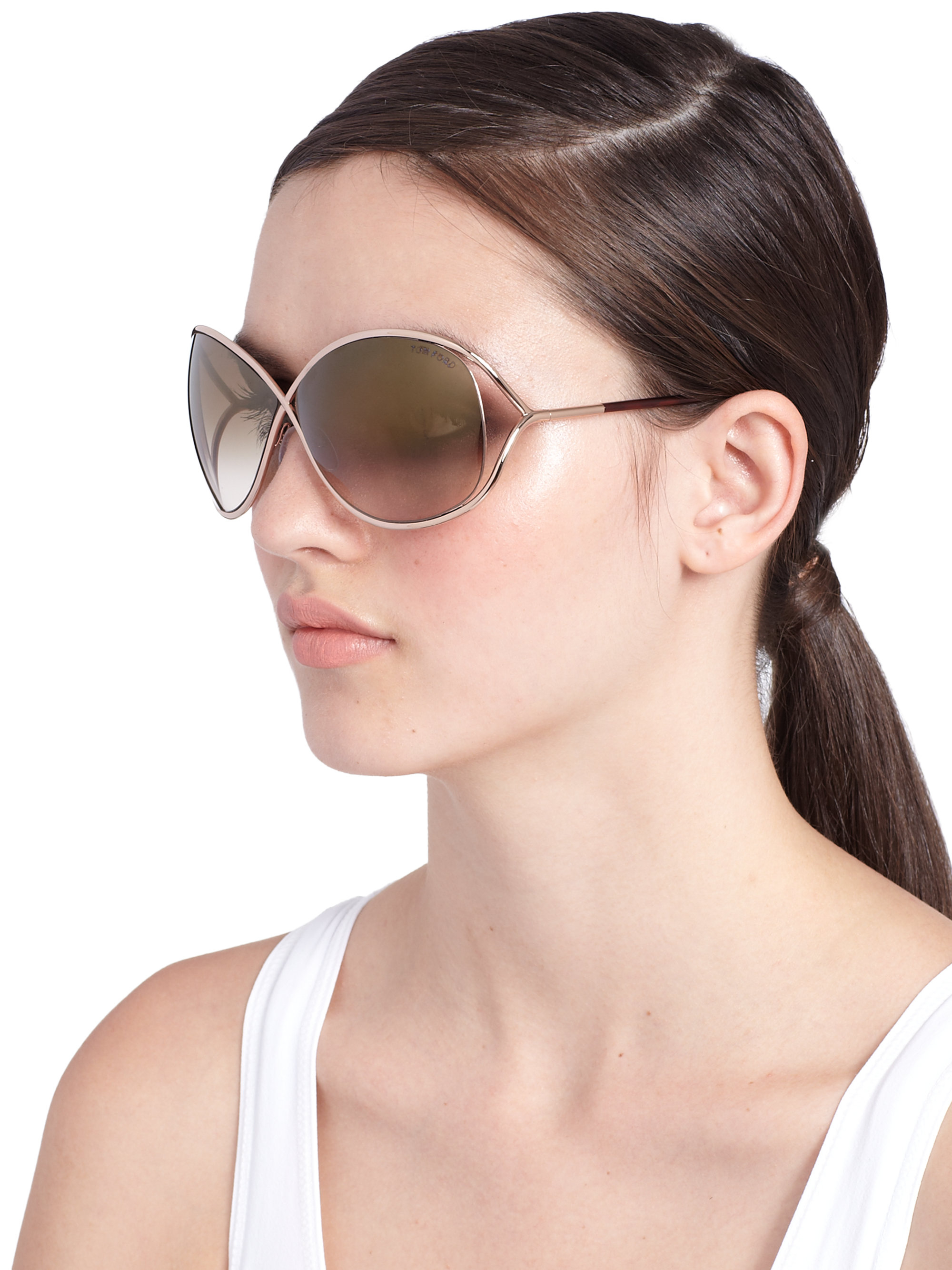 tom ford miranda oversized round sunglasses in brown lyst. Cars Review. Best American Auto & Cars Review