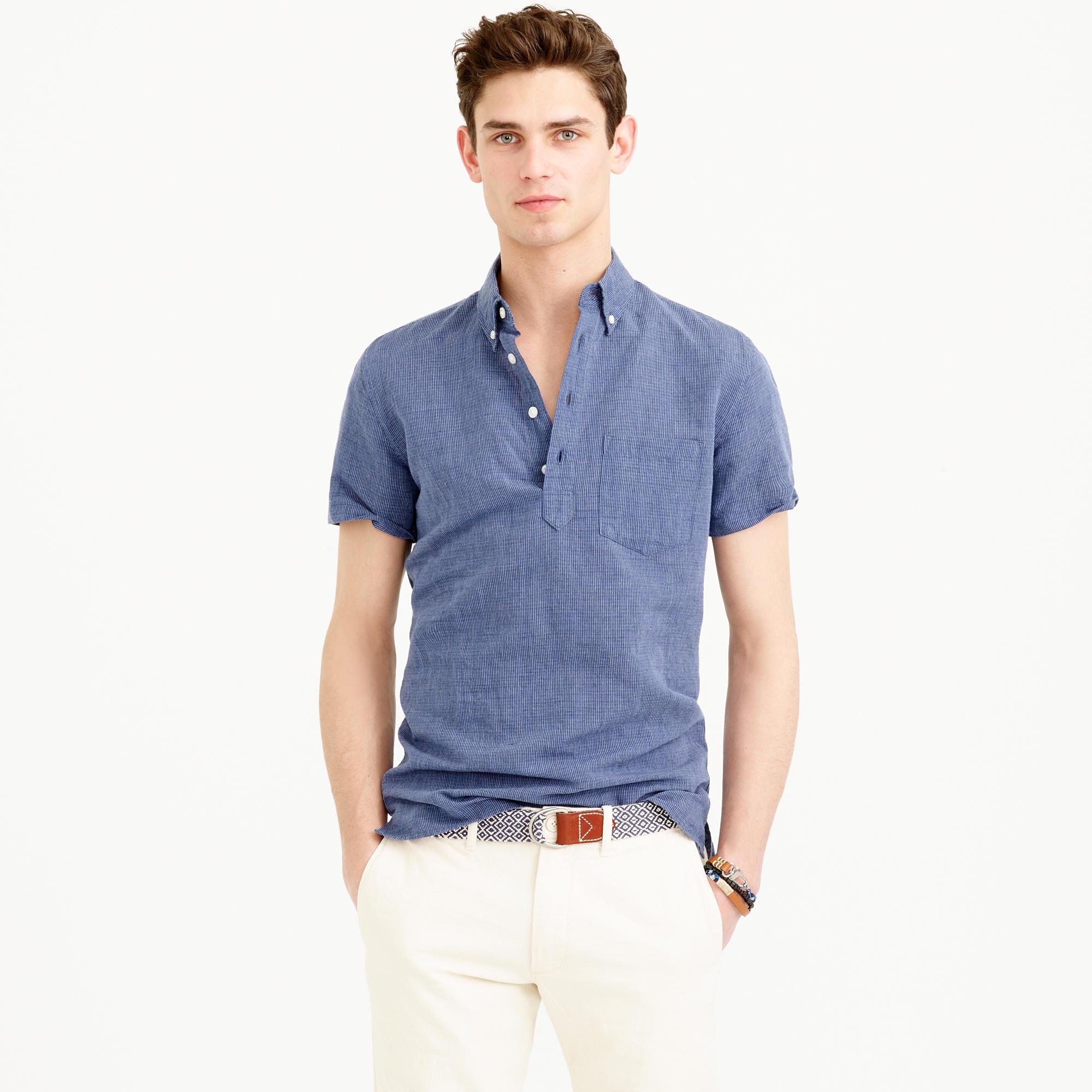 Irish linen popover shirt in royal indigo stripe in for Irish linen dress shirts