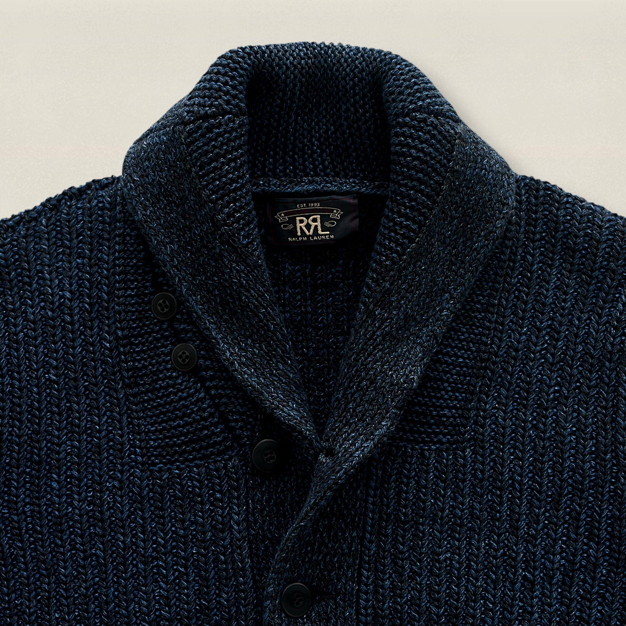 c4db41c07 RRL Indigo Shawl-Collar Cardigan in Blue for Men - Lyst