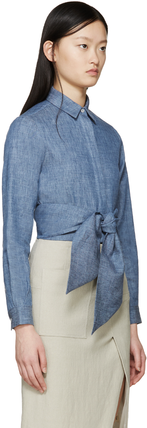 Msgm blue chambray tie front shirt in blue lyst for Blue chambray shirt women s