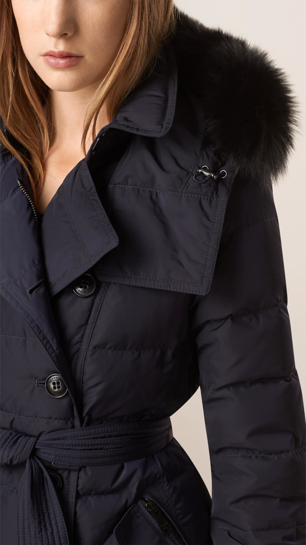 Burberry Down-filled Coat With Fur Trim in Blue | Lyst