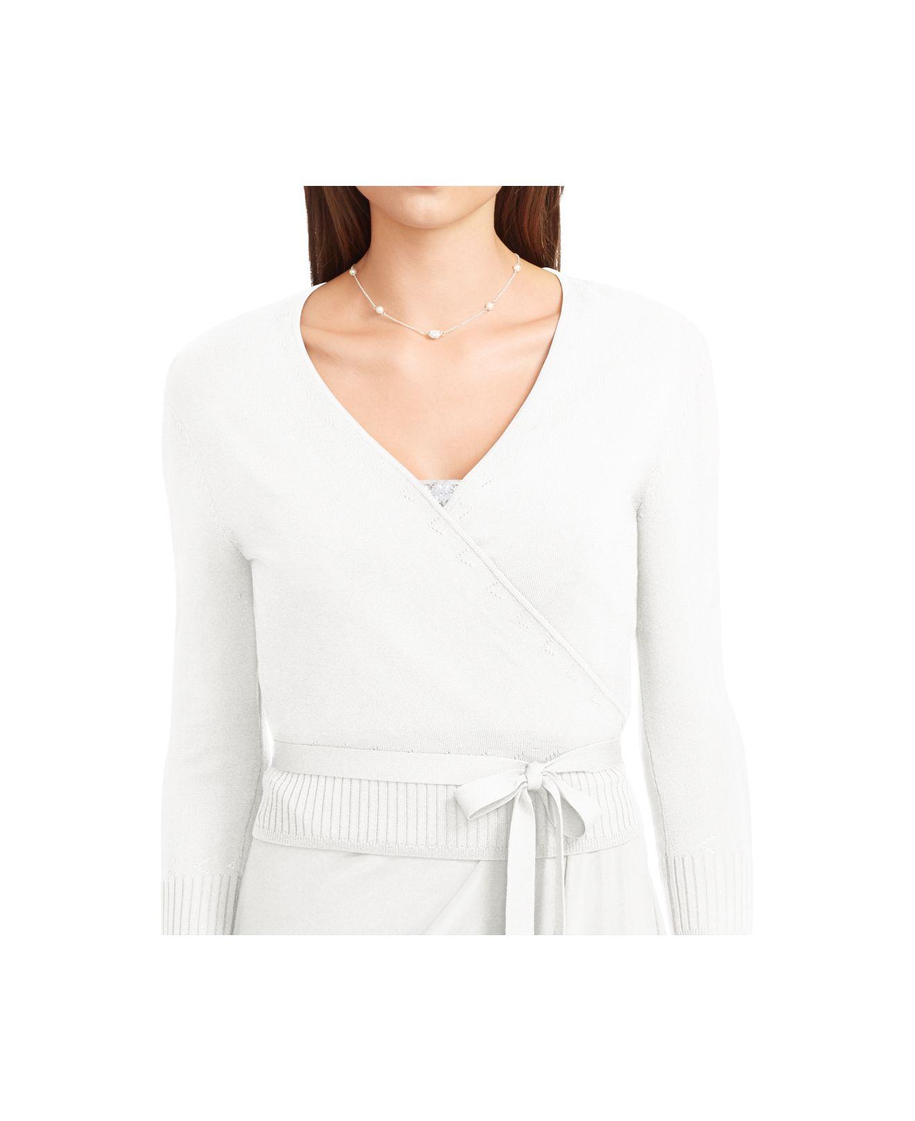 Lauren by ralph lauren Wrap Cardigan in White | Lyst