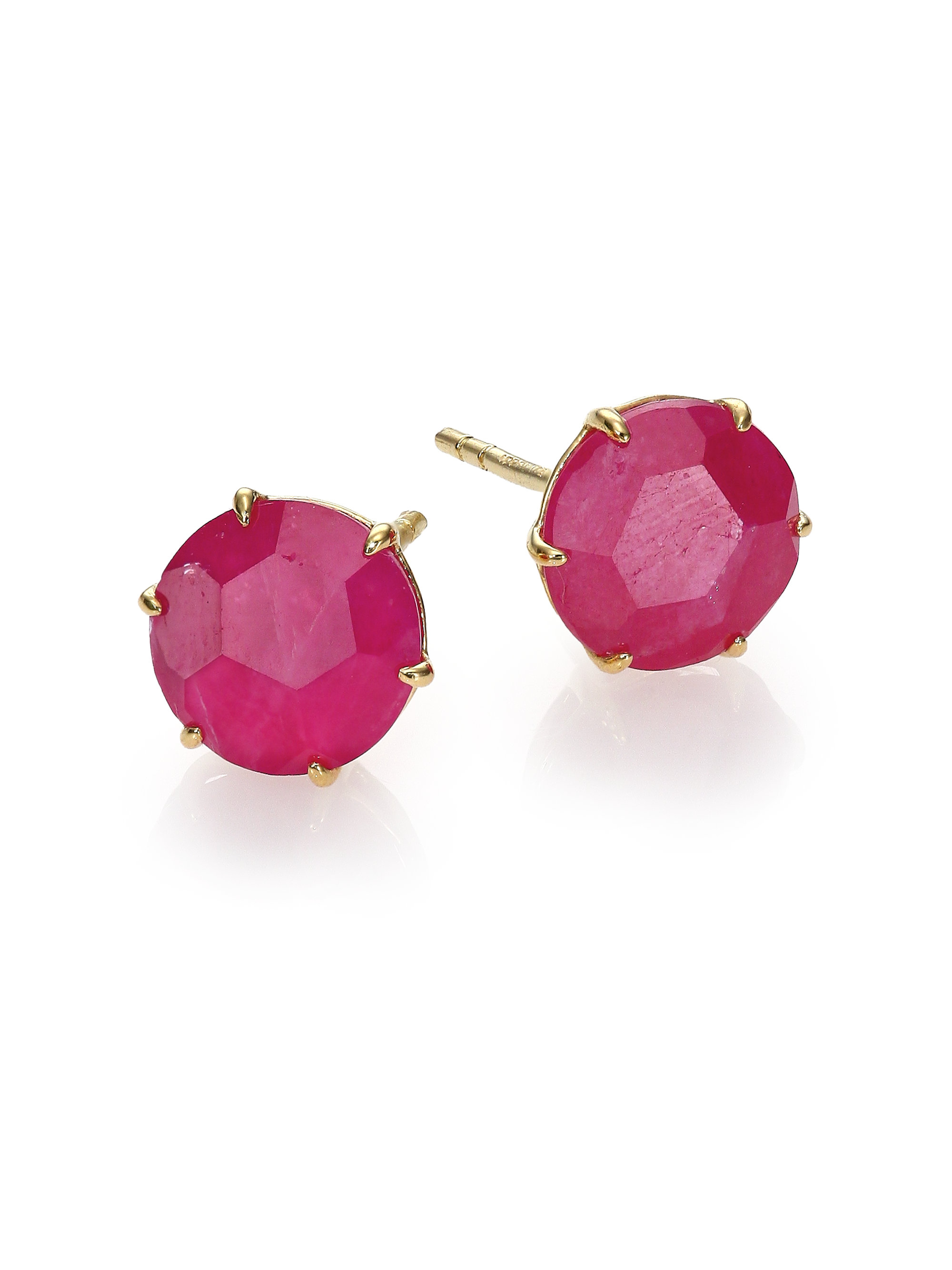 lyst ippolita rock candy ruby 18k yellow gold stud. Black Bedroom Furniture Sets. Home Design Ideas