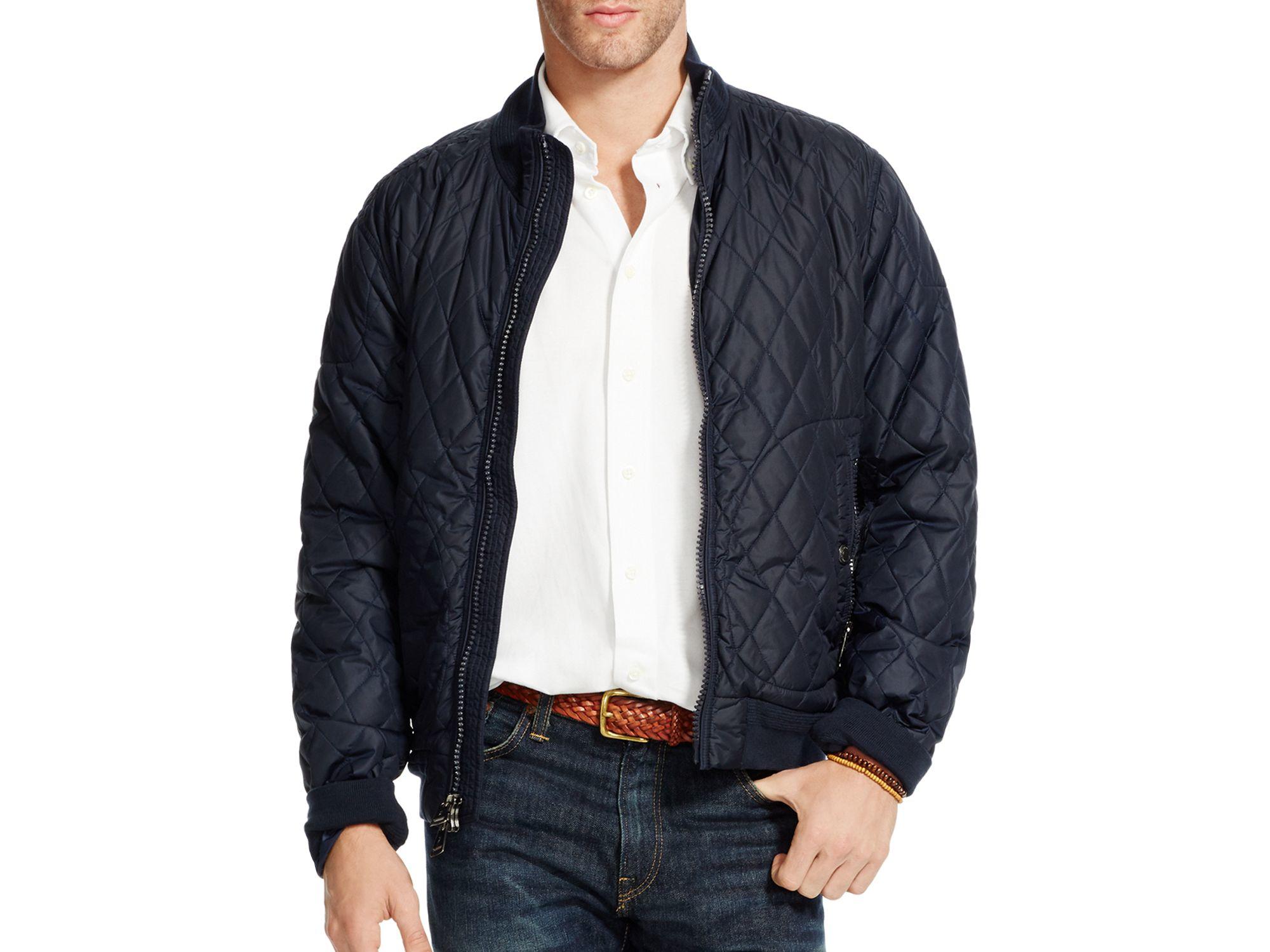 Lyst Polo Ralph Lauren Quilted Nylon Bomber Jacket In Black For Men