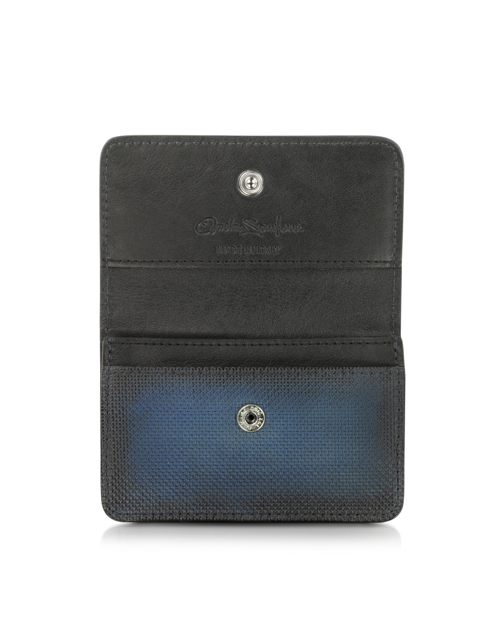 Lyst santoni blue leather business card holder in blue for men gallery colourmoves