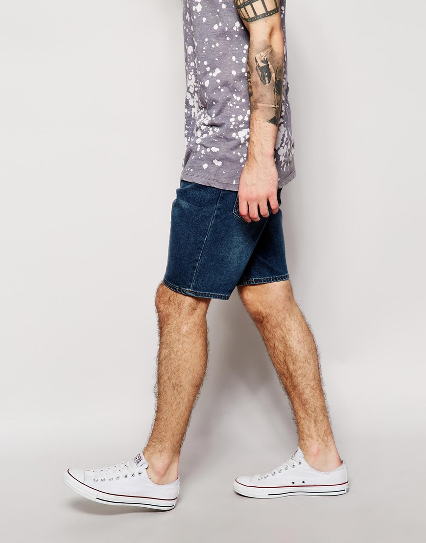 Cheap monday Denim Shorts Line Shorts Anti Blue Mid Wash in Blue ...
