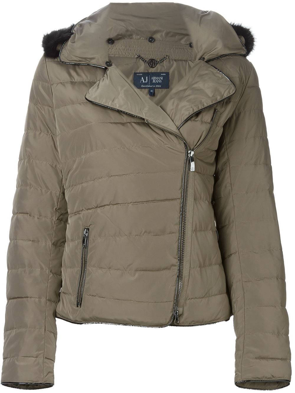 c700311369 Collar Faux Jeans Lyst Quilted Jacket Fur In Brown Armani ITCxq4wxnv