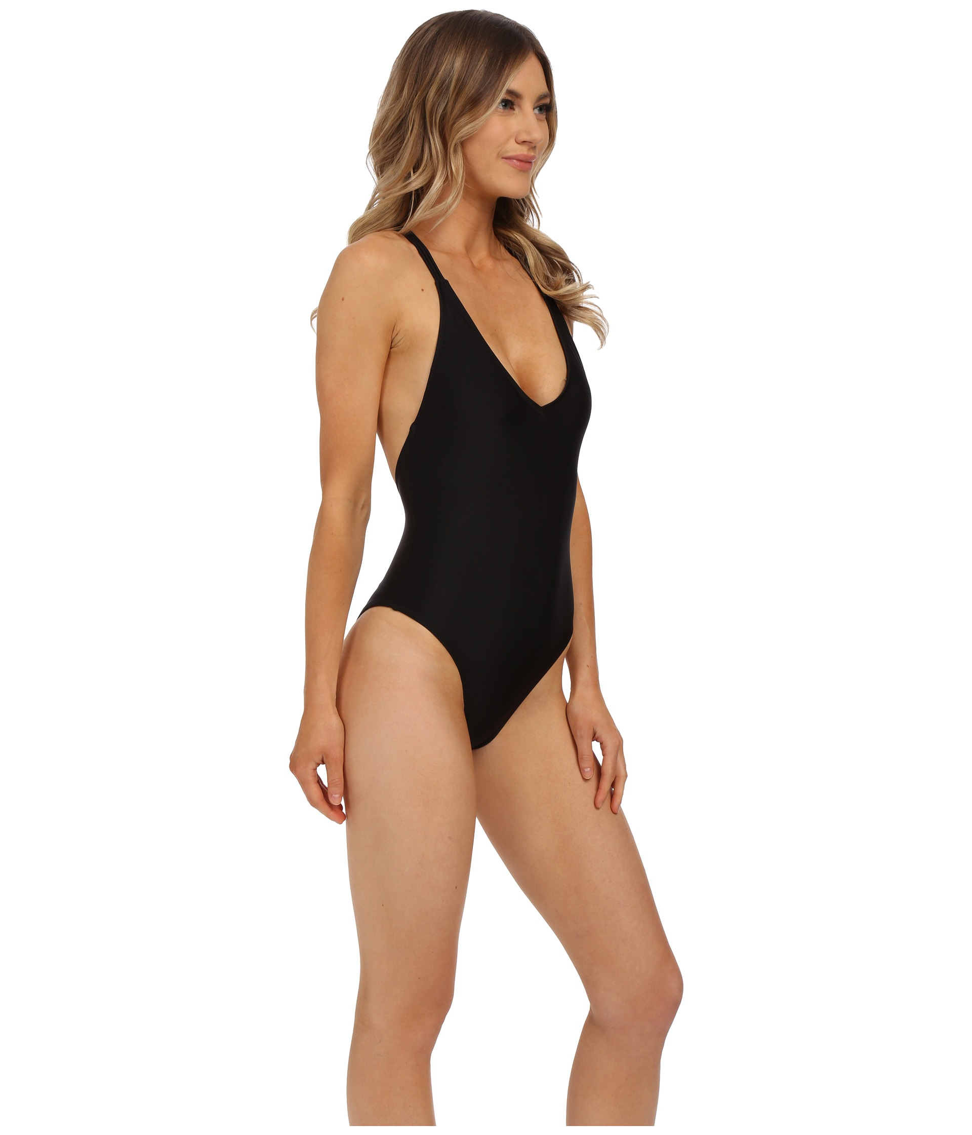 44054232c30ec Volcom Simply Solid One-piece Swimsuit in Black - Lyst