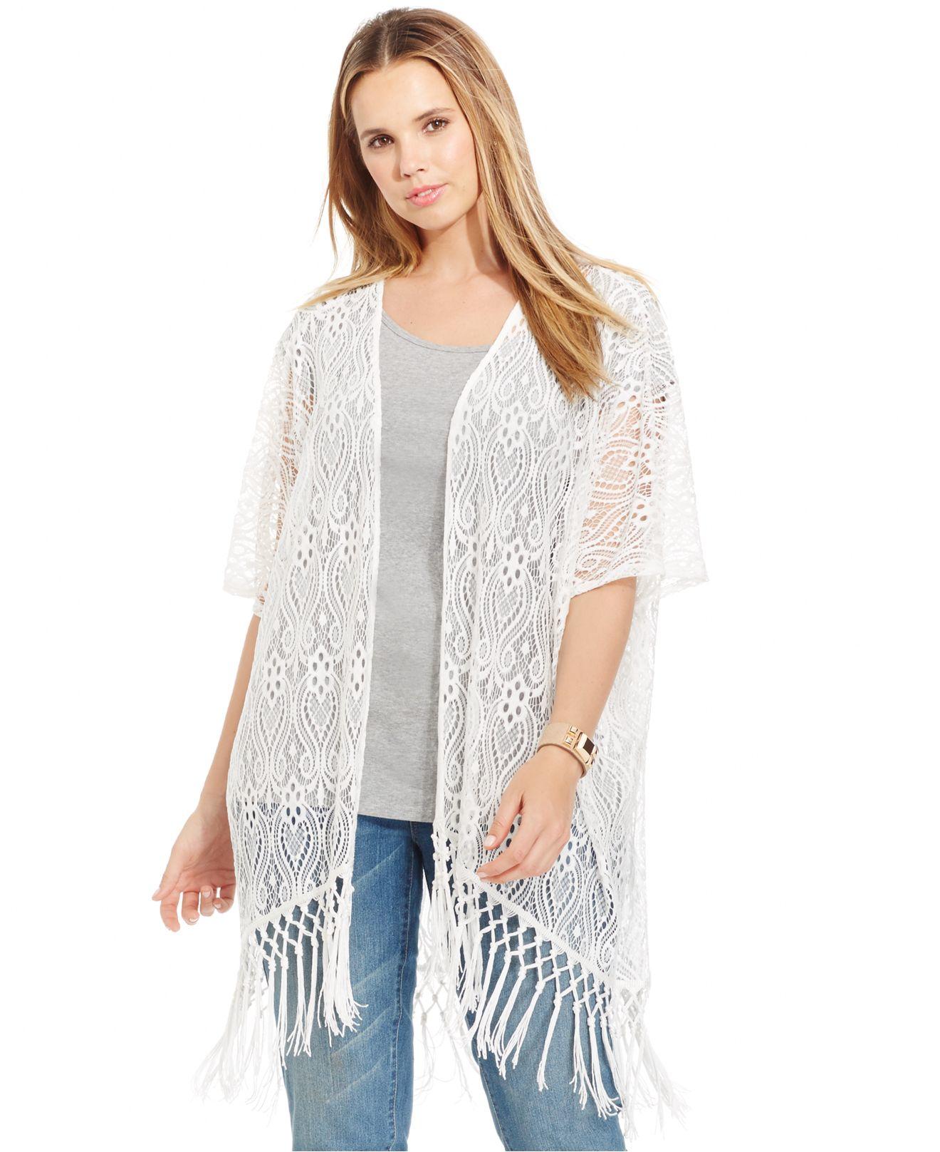 Soprano Plus Size Fringed Lace Kimono Cardigan in White | Lyst