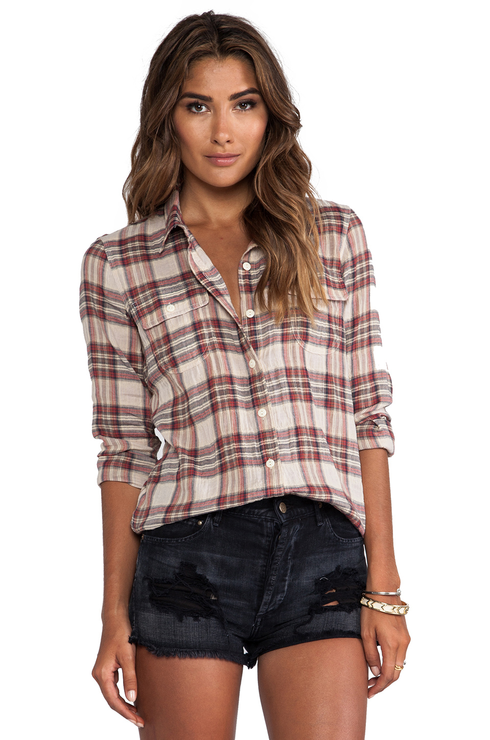 Lyst capulet plaid shirt in red Womens red tartan plaid shirt