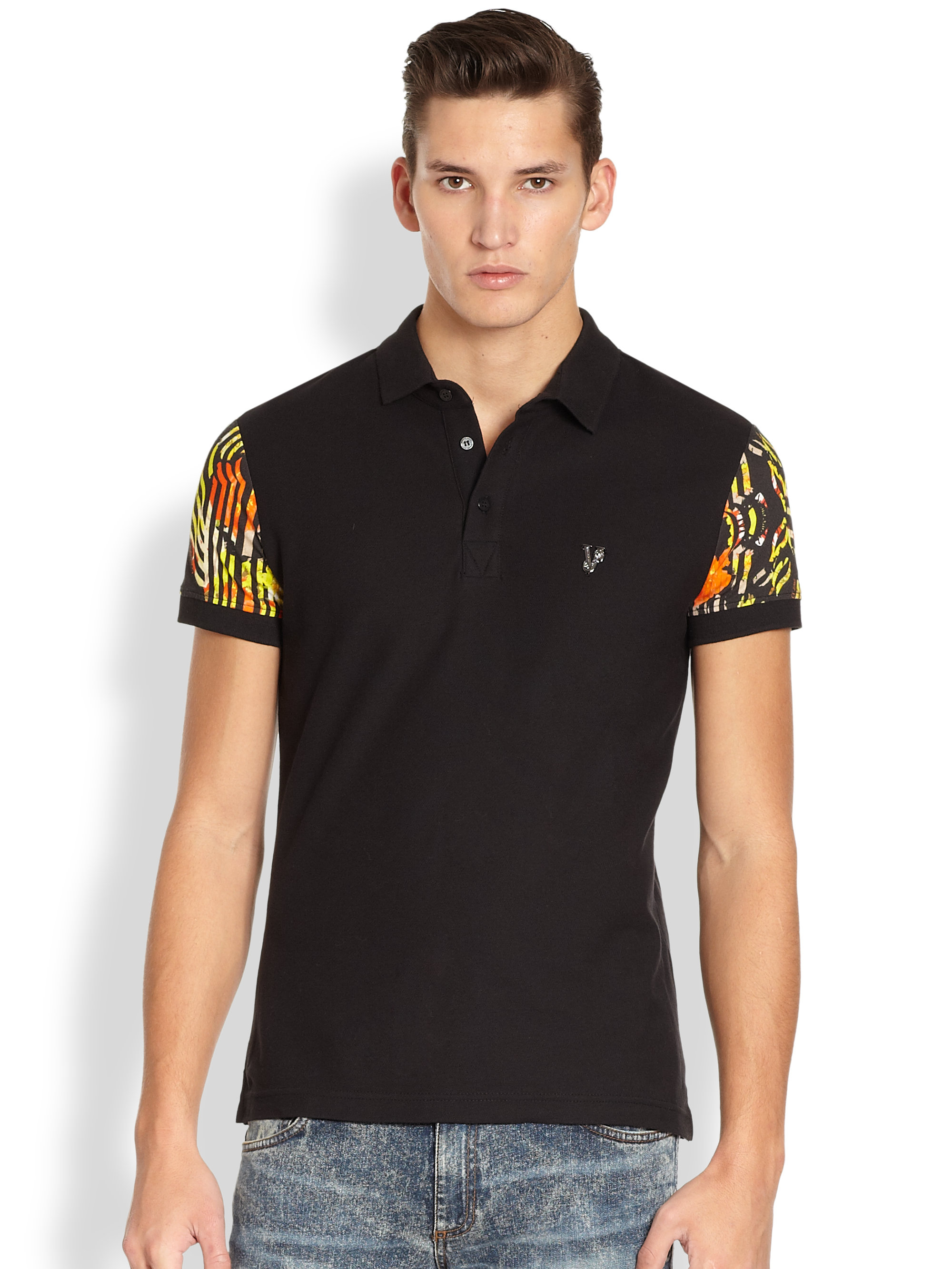 Versace jeans floral sleeve polo shirt in black for men lyst for Polo shirt and jeans