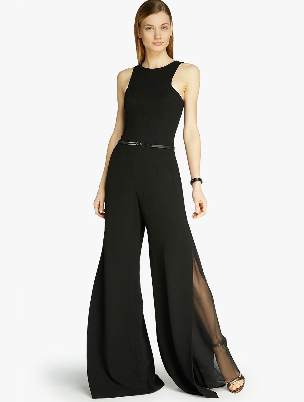 Lyst Halston Crepe Georgette Combo Jumpsuit In Black