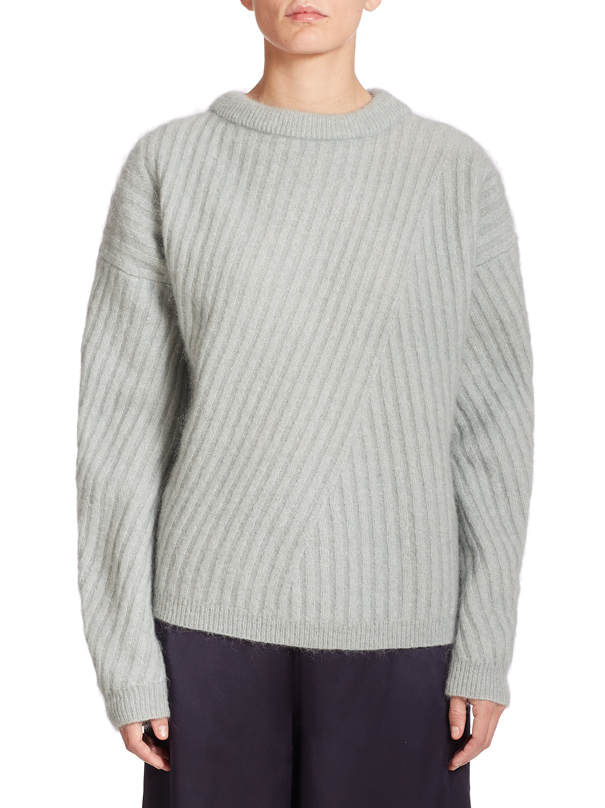 Acne studios Virdis Mohair Ribbed Sweater in Gray | Lyst
