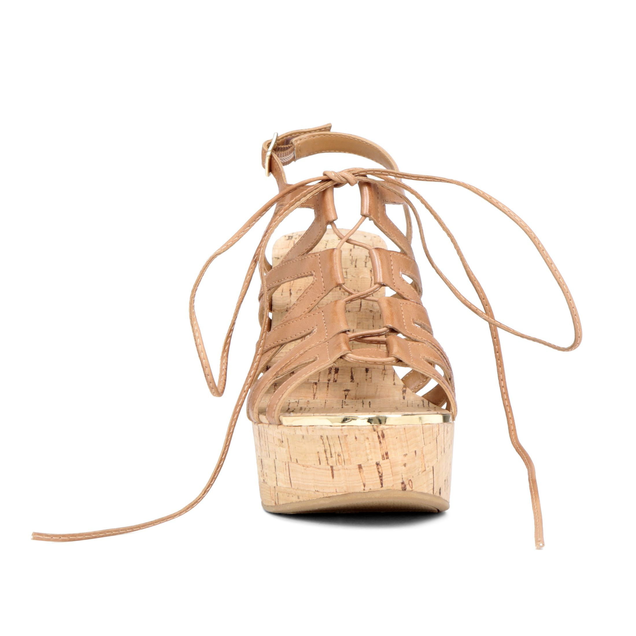 Lyst Aldo Mcconkie Lace Up Wedge Sandals In Brown