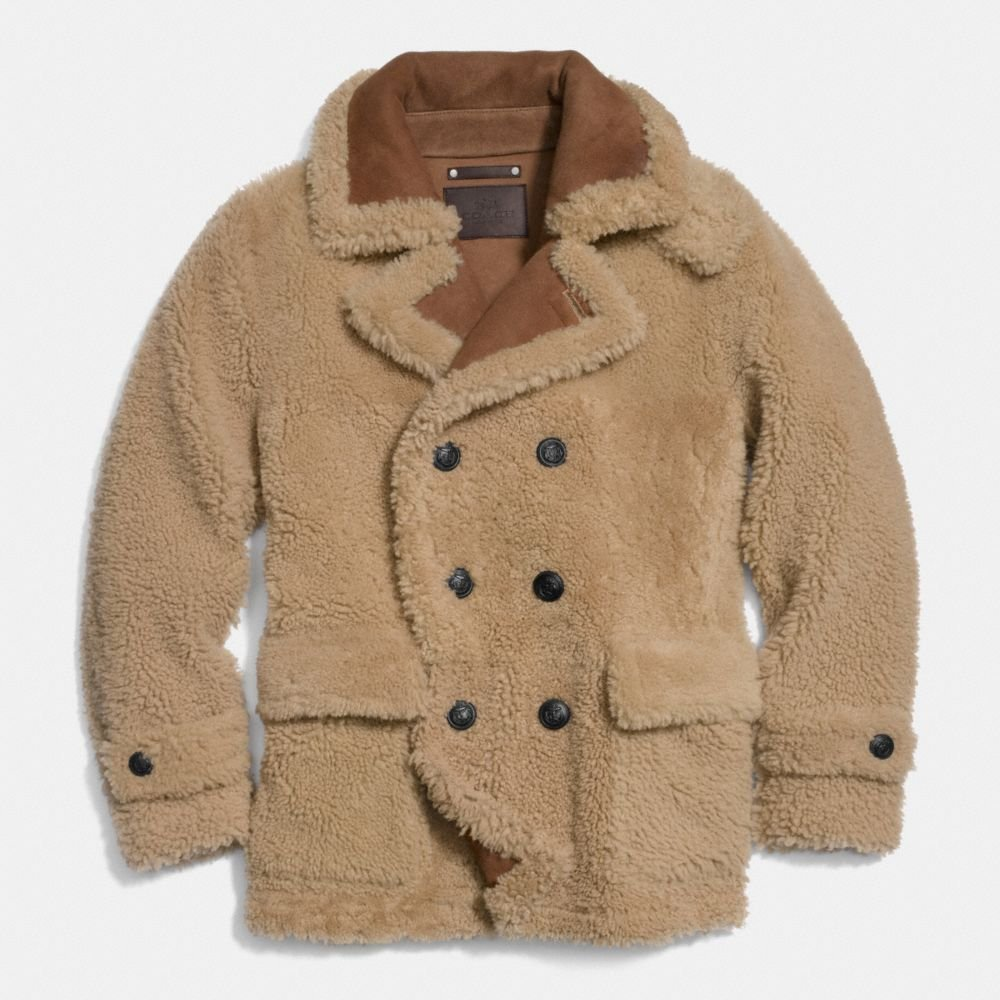 Coach Reverse Shearling Pea Coat in Natural for Men | Lyst