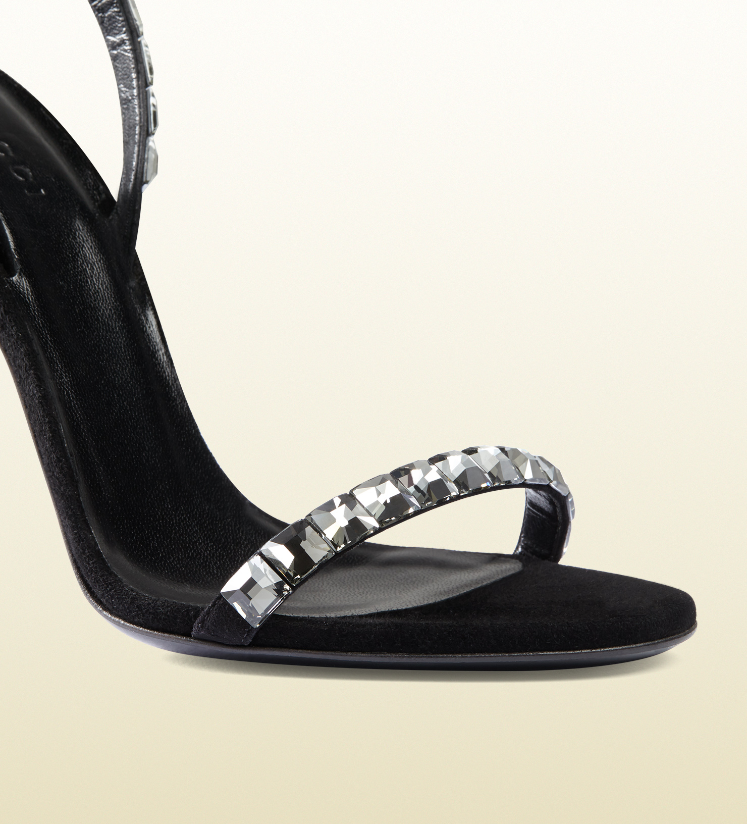 a5321041bda Lyst - Gucci Mallory Crystal Embellished Suede Sandals in Black