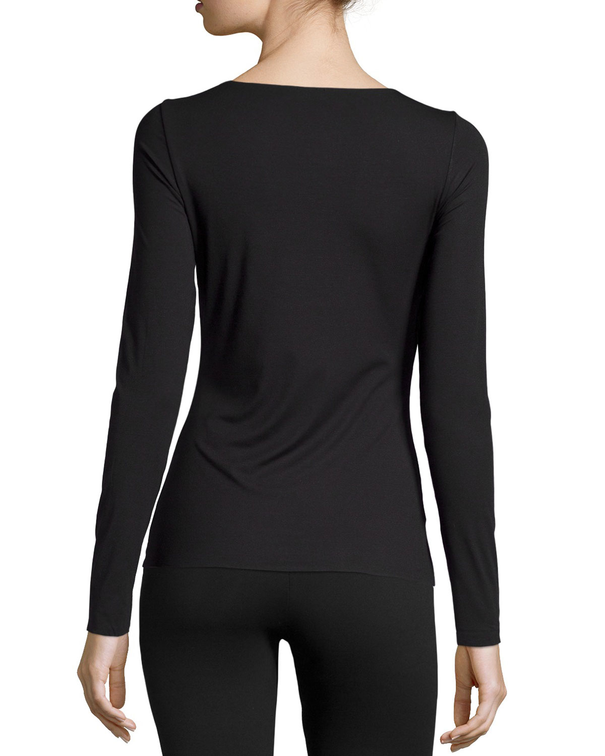wolford pure long sleeve pullover top in black lyst. Black Bedroom Furniture Sets. Home Design Ideas