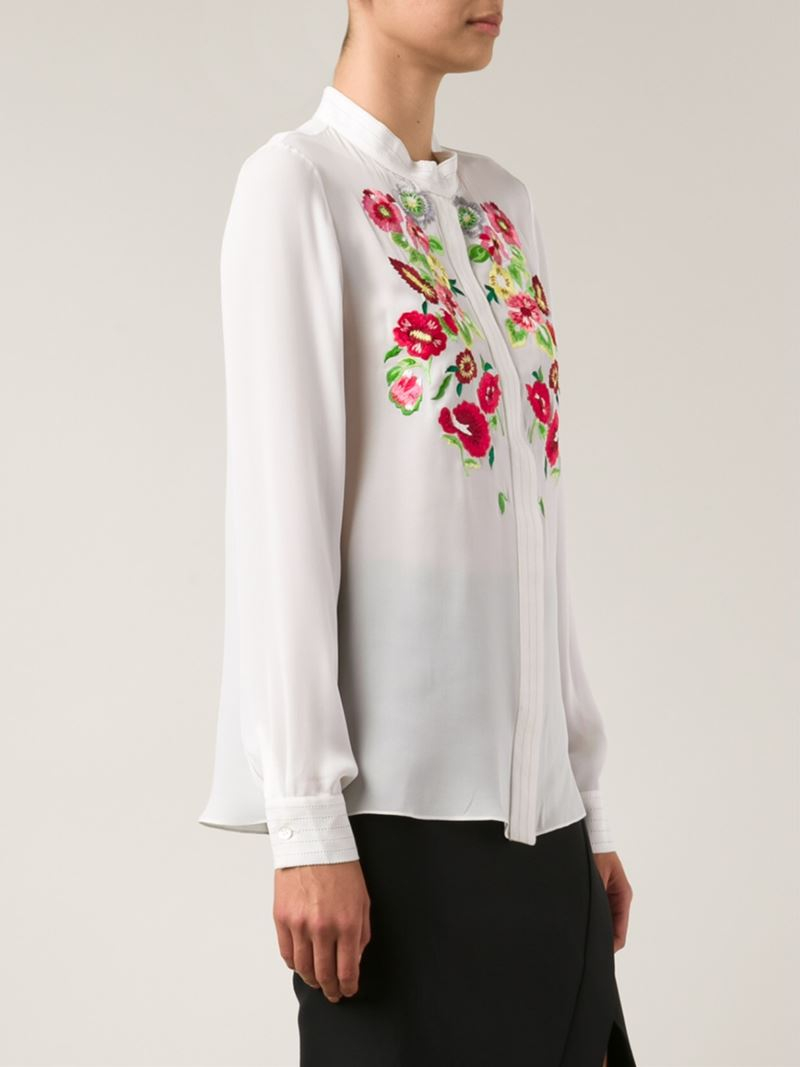 oscar de la renta floral embroidered shirt in red lyst