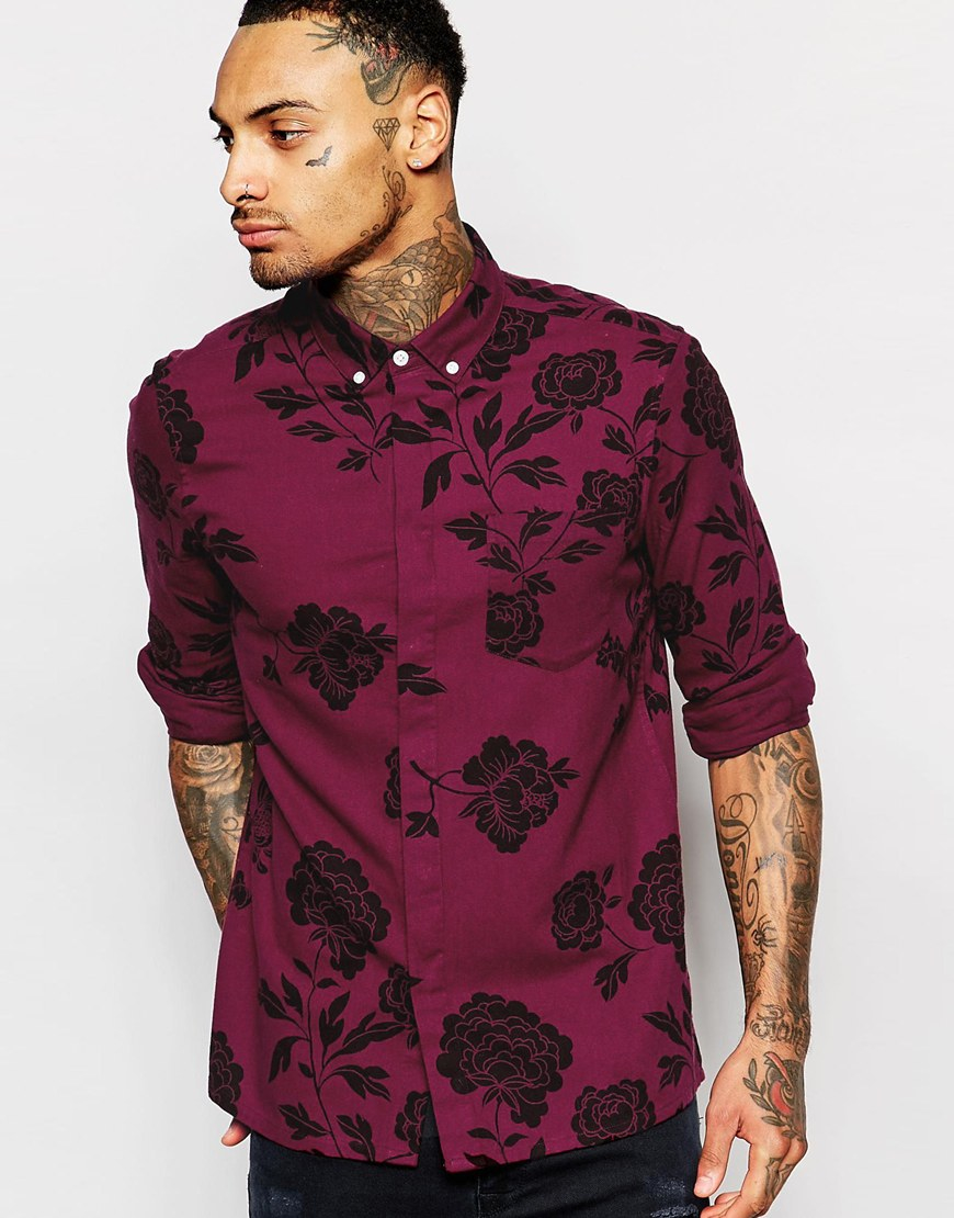 Asos floral shirt in long sleeve twill in red for men lyst for Floral mens t shirts