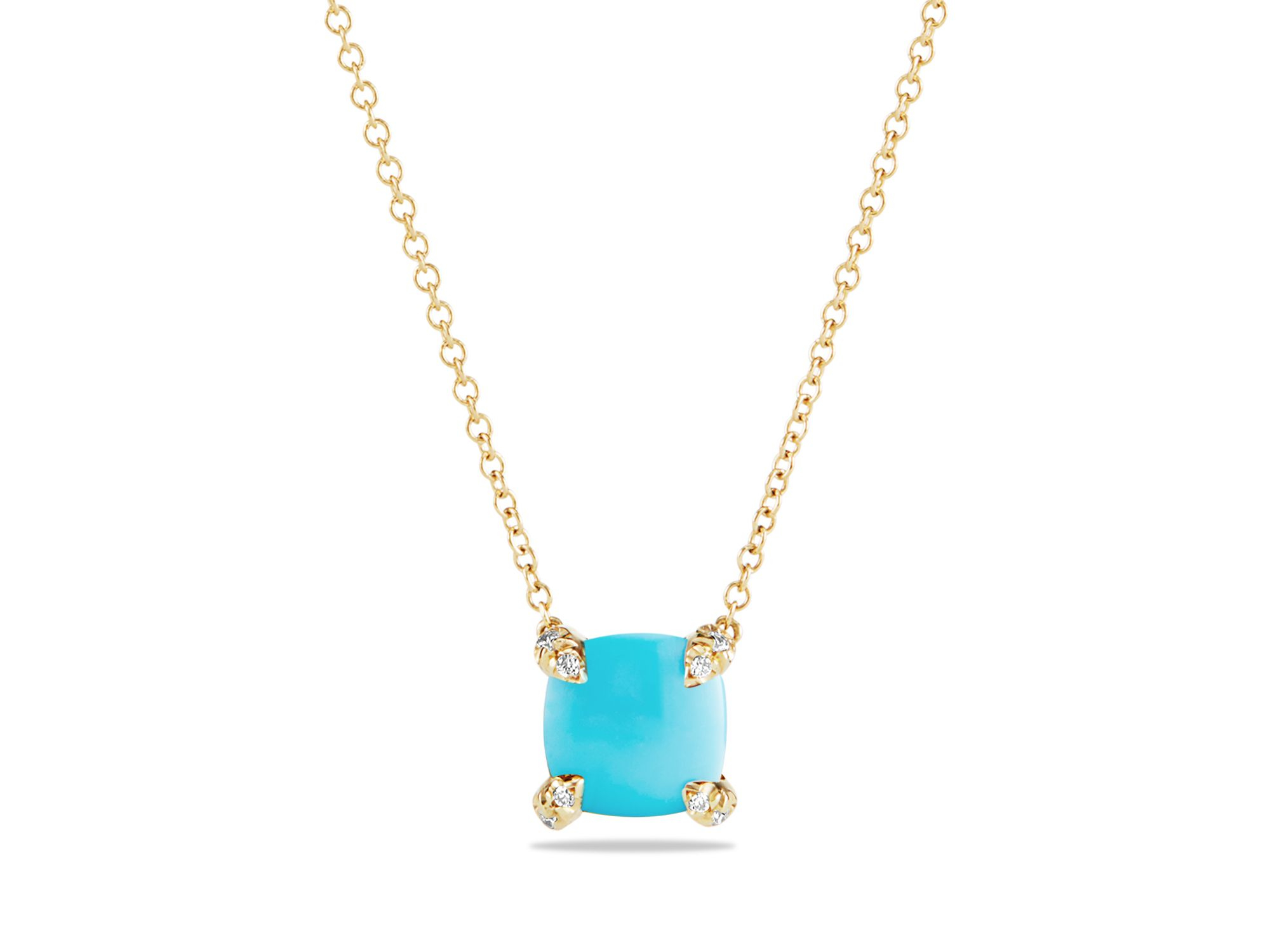 David Yurman 18kt yellow gold Châtelaine turquoise and diamond pendant necklace - Metallic Tyw9EWRrL6