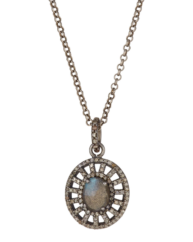 Bavna Labradorite & Sapphire Leaf Pendant Necklace mRrfky