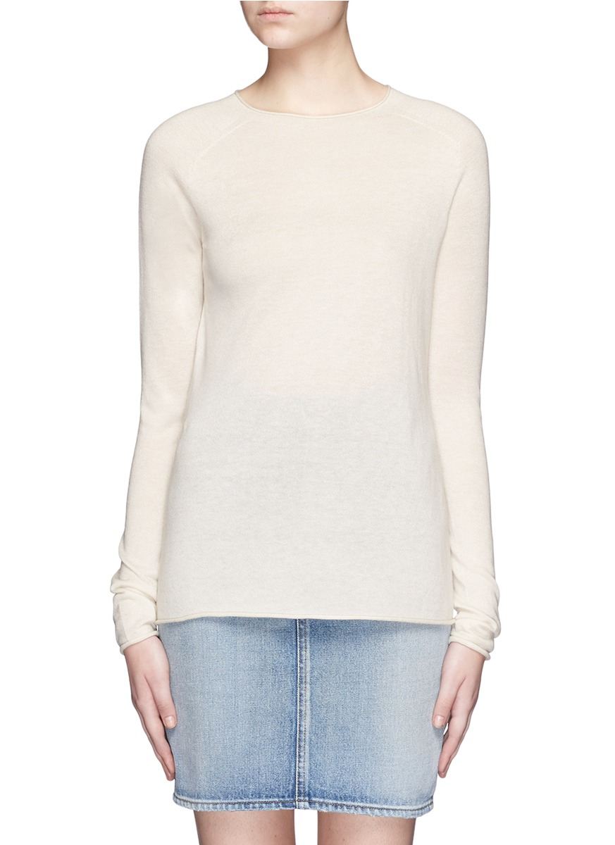 Vince Rolled Seam Silk-cashmere Sweater in White | Lyst
