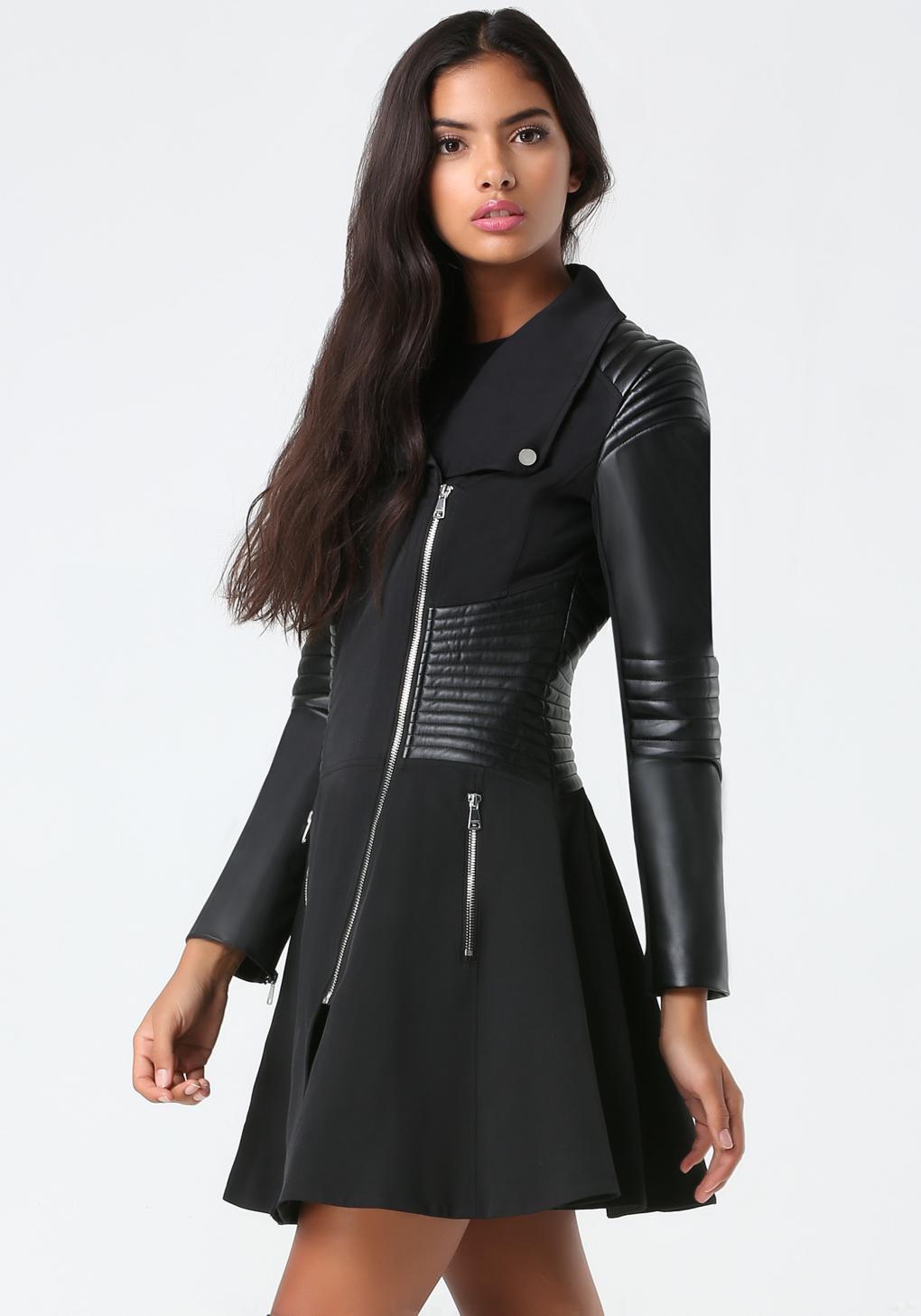 Bebe Natasha Moto Trench Coat In Black Lyst