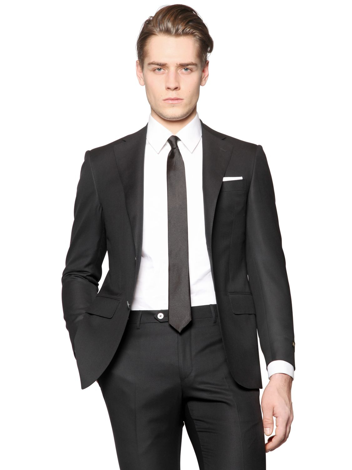 Corneliani Heavyweight Wool & Silk Blend Suit in Black for Men | Lyst