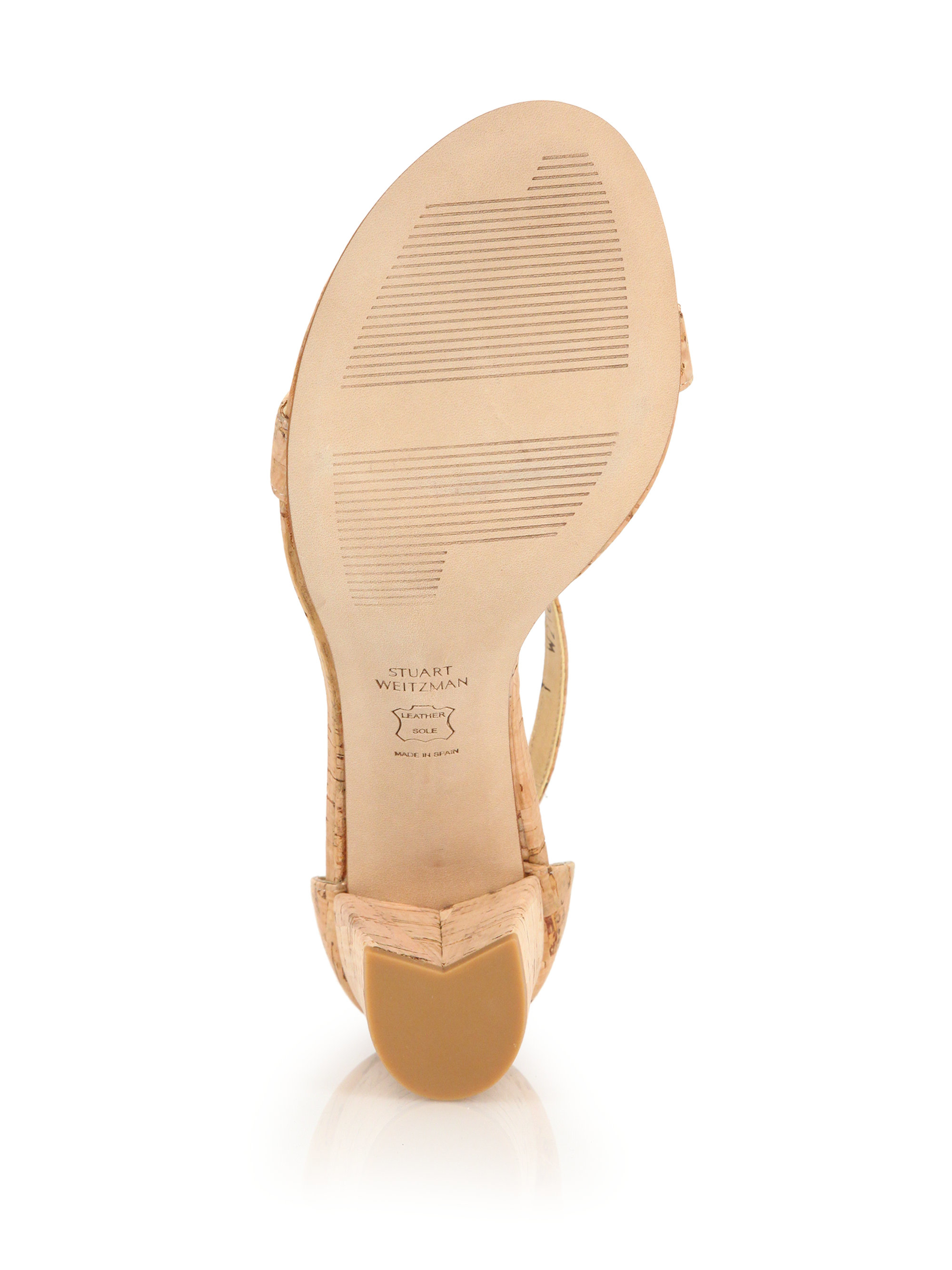 Stuart Weitzman Nearly Nude Cork Dorsay Sandals In Brown  Lyst-2192