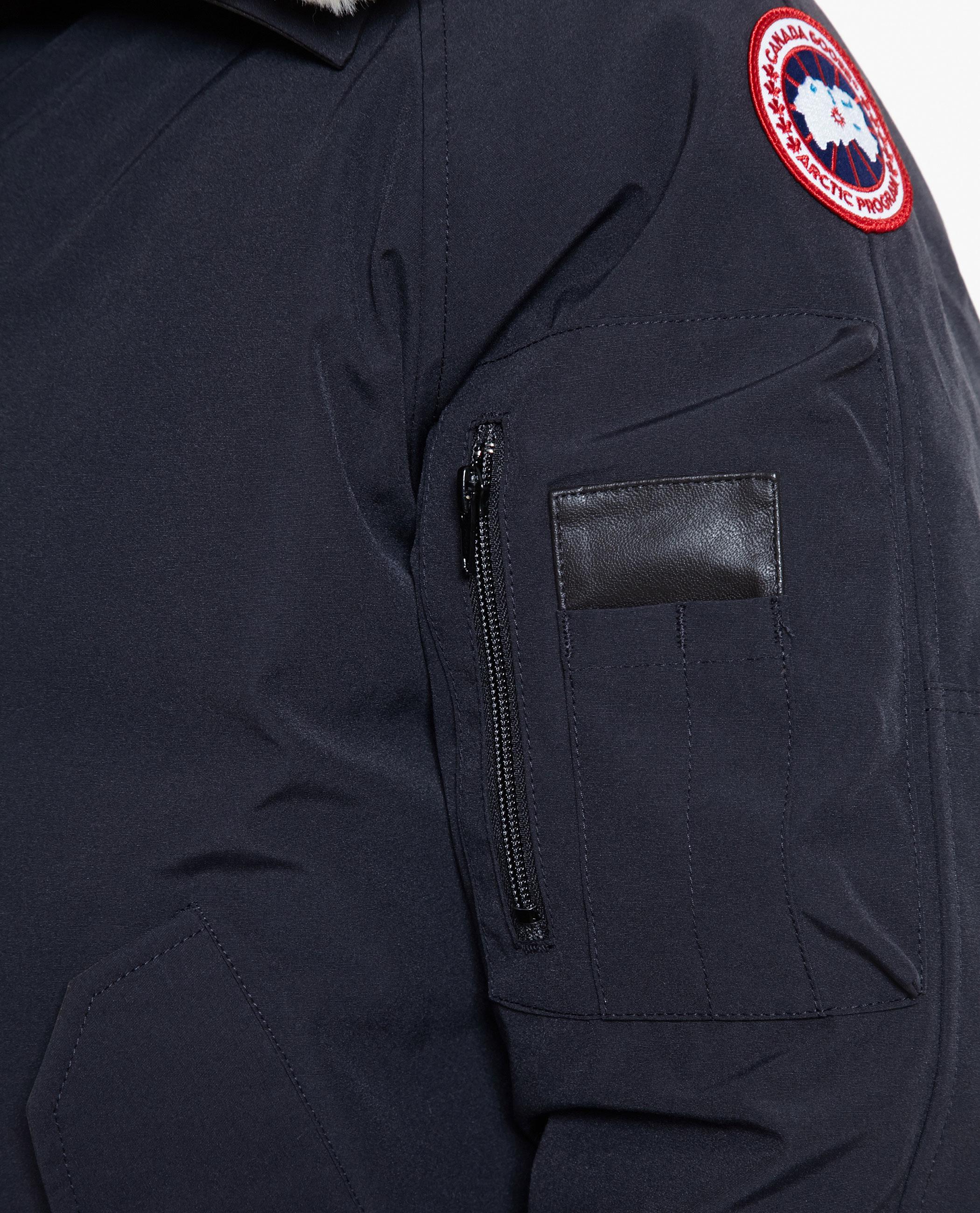 canada goose brown shearling collar foxe bomber jacket