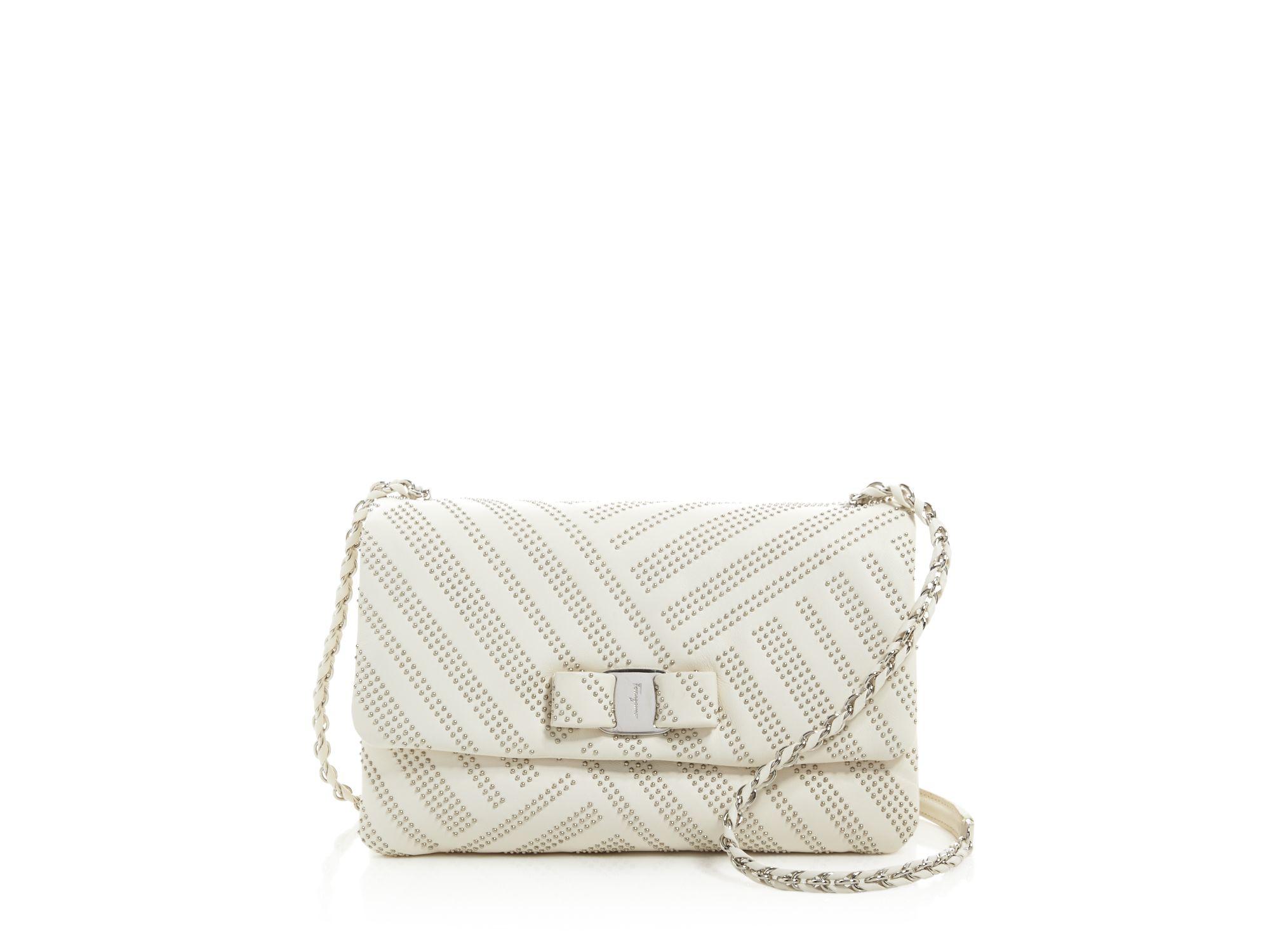 0b1d033c4192 Ferragamo Gelly Medium Stud Shoulder Bag in White - Lyst