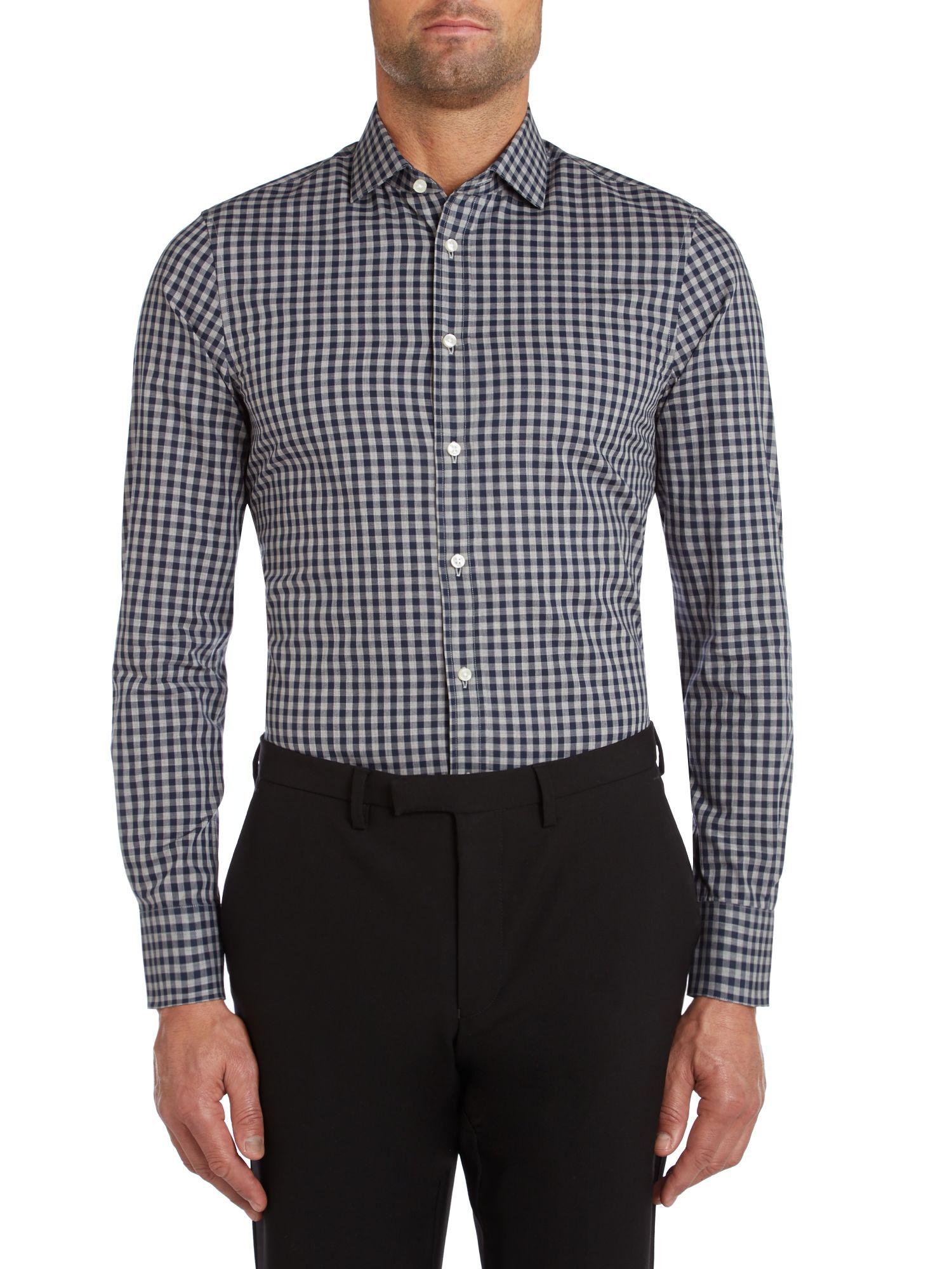Tommy hilfiger parker slim fit gingham shirt in blue for for Tommy hilfiger gingham dress shirt