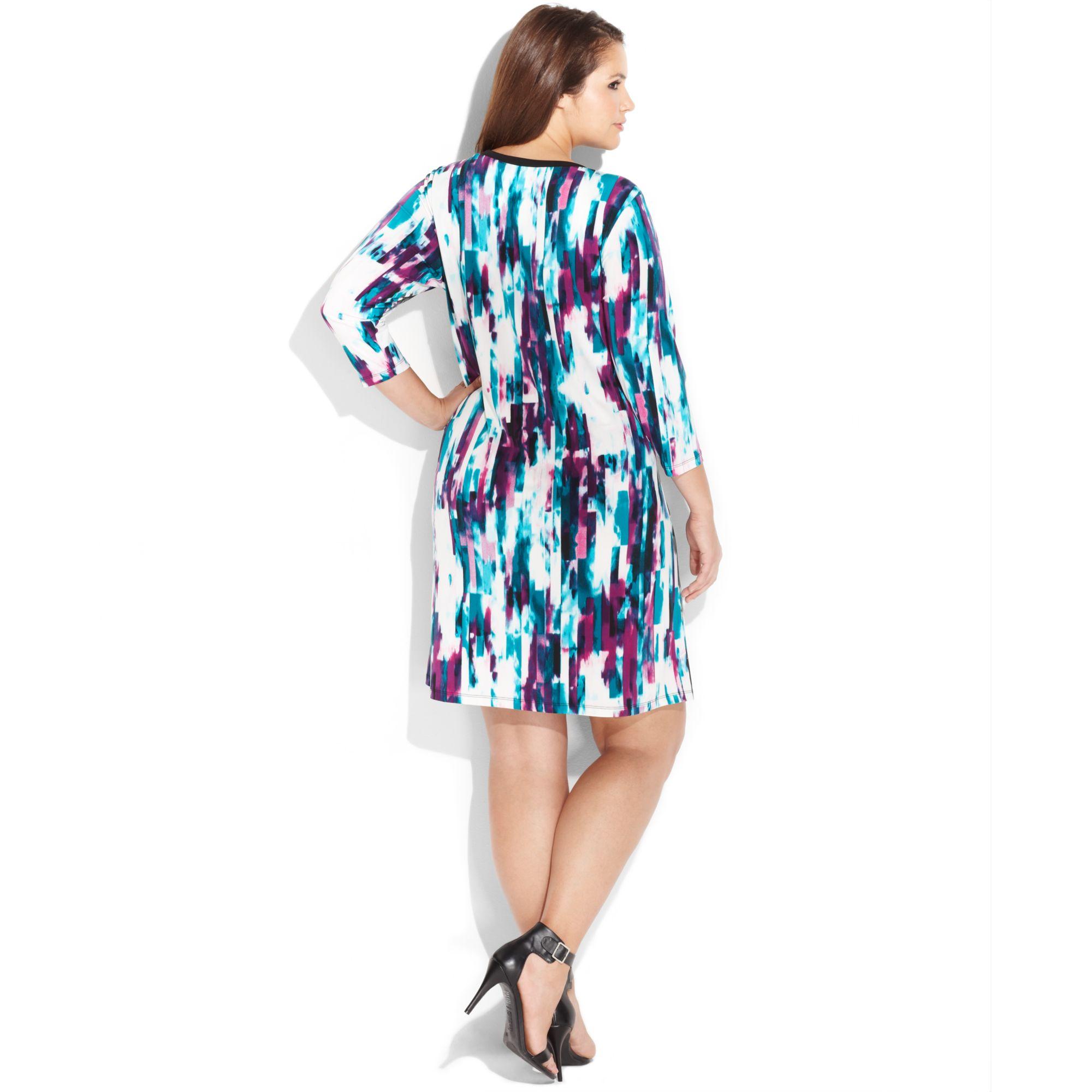 Calvin klein plus size threequartersleeve geoprint dress in purple gallery ombrellifo Image collections