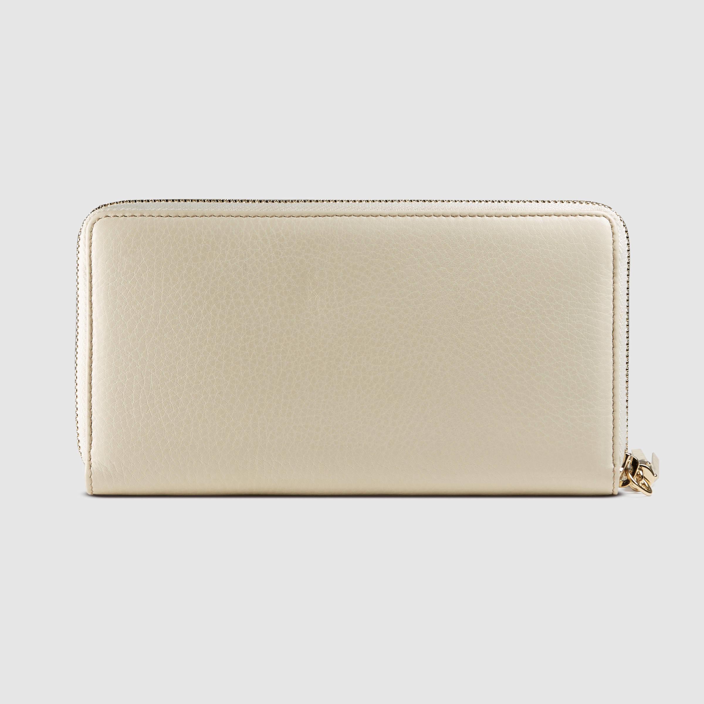 26cb6c881c7 Lyst - Gucci Soho Leather Zip Around Wallet in White