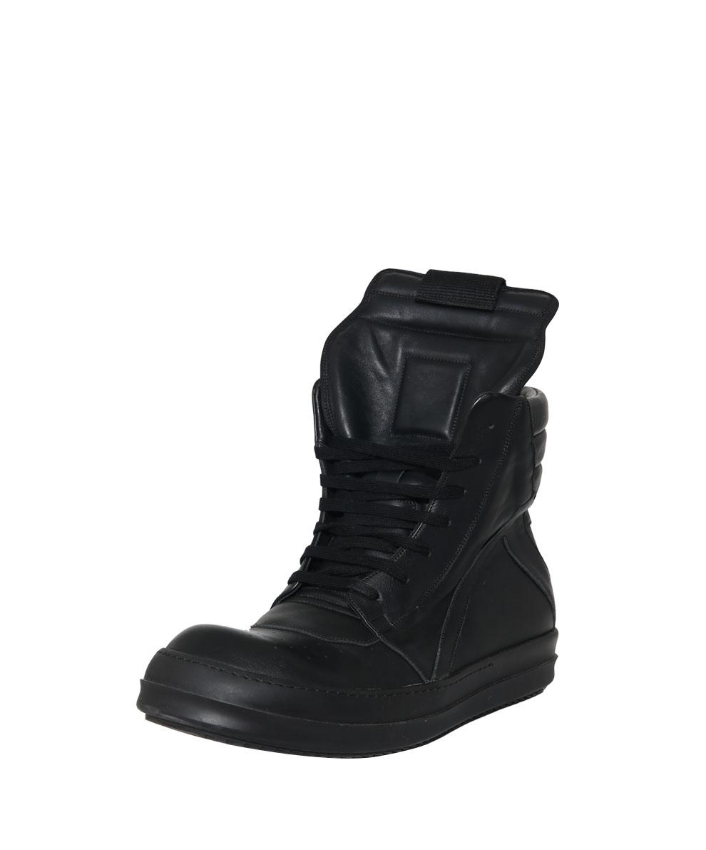 rick owens high top leather sneakers geobasket in black for men lyst. Black Bedroom Furniture Sets. Home Design Ideas