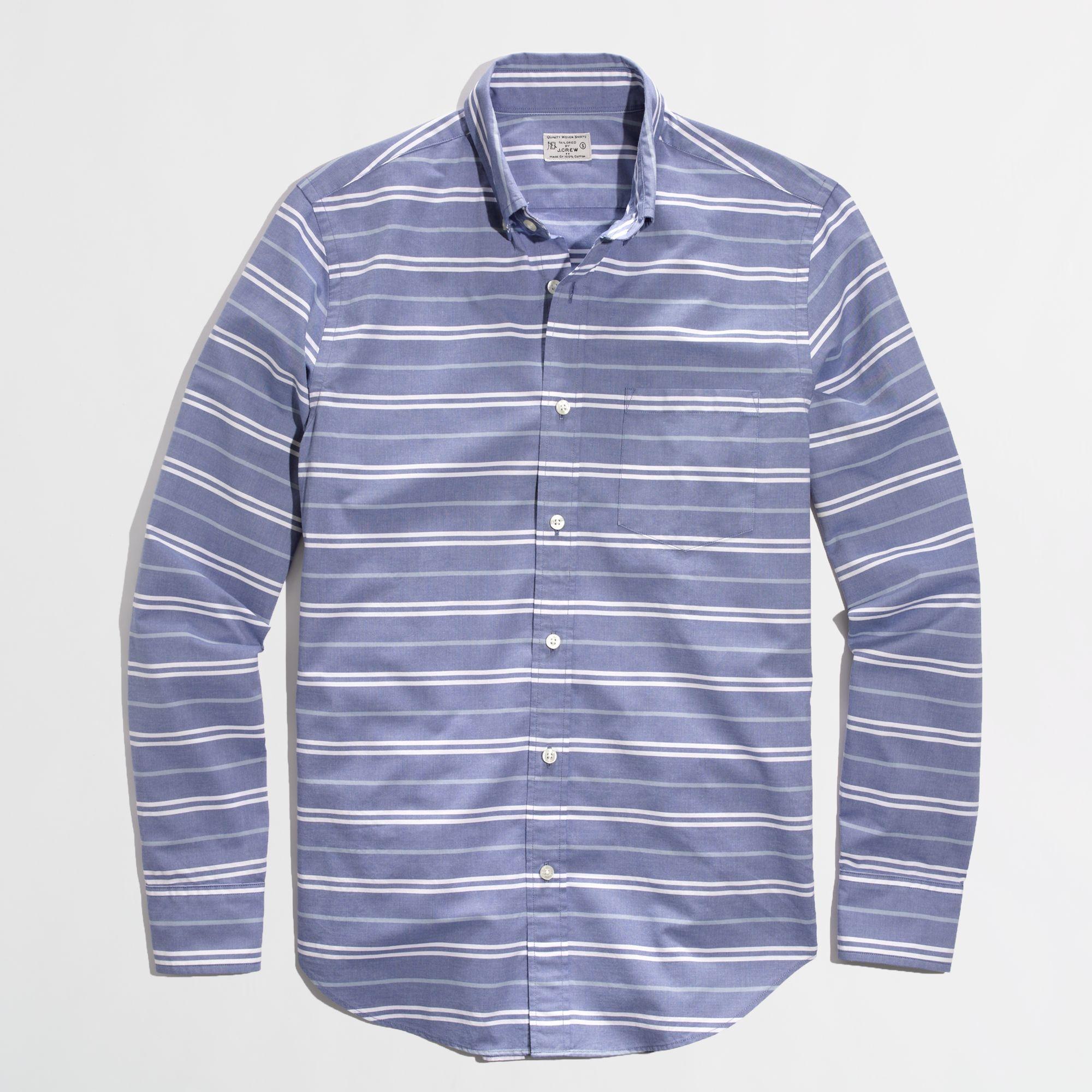 Factory slim washed shirt in horizontal stripe in for Horizontal striped dress shirts men