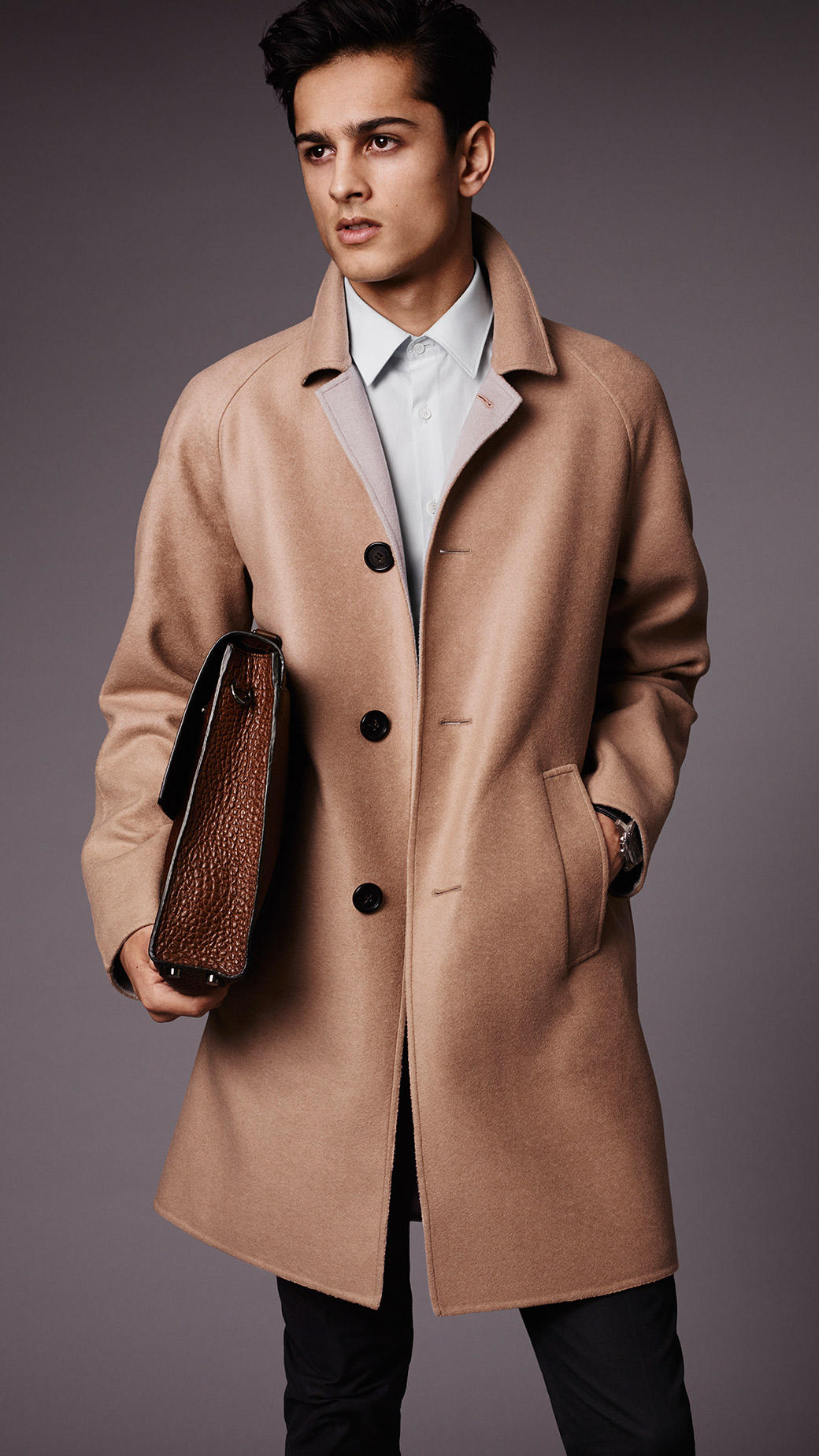 Burberry Double Cashmere Car Coat in Brown for Men | Lyst
