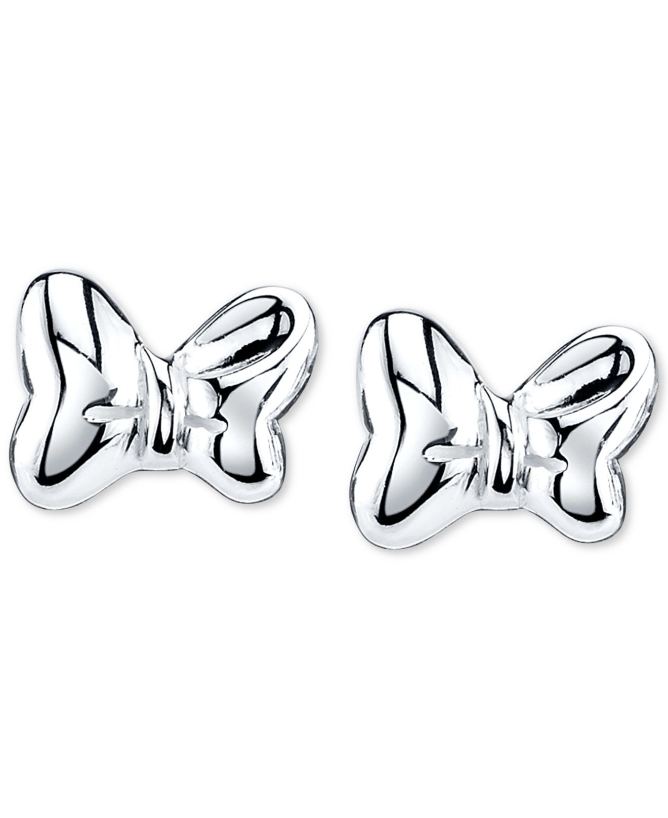cf0edef1a Disney Minnie Mouse Bow Stud Earrings In Sterling Silver in Gray - Lyst