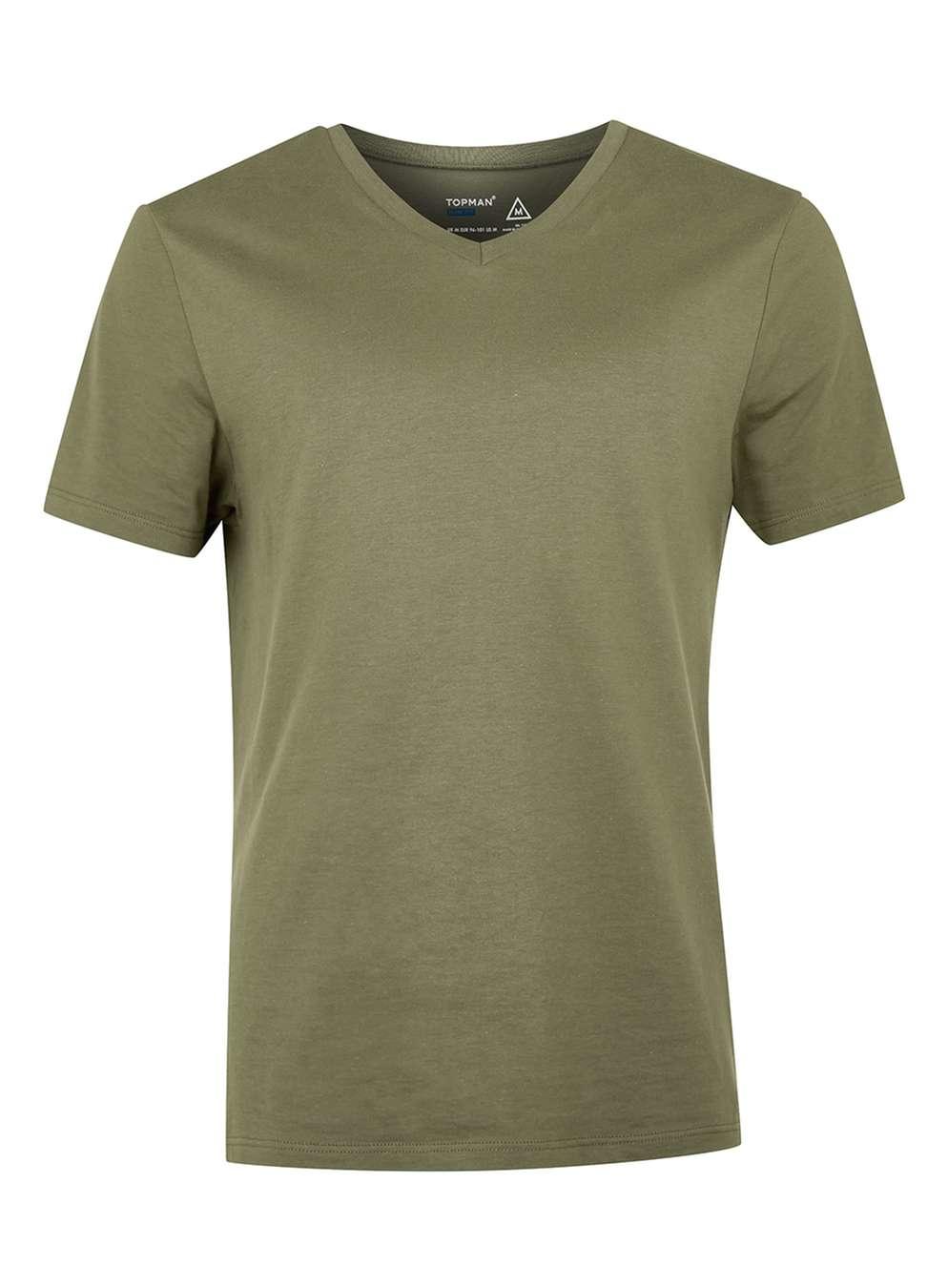 lyst topman khaki slim fit v neck t shirt in green for men. Black Bedroom Furniture Sets. Home Design Ideas