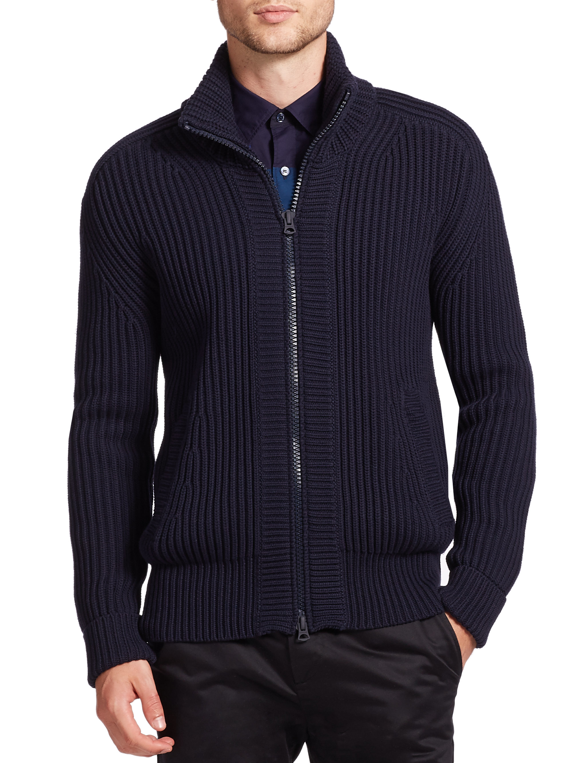 Men'S Sweater With Zipper Front - Cashmere Sweater England
