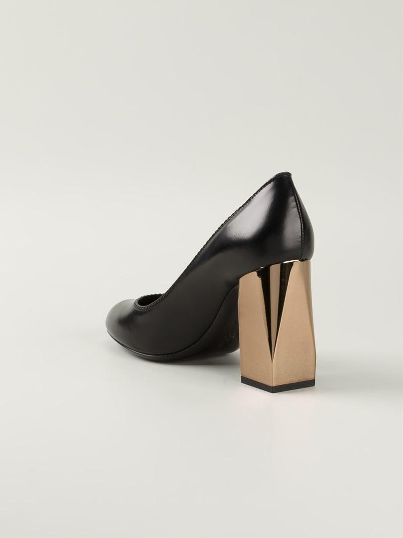 Lyst Lanvin Gold Block Heel Pumps In Black